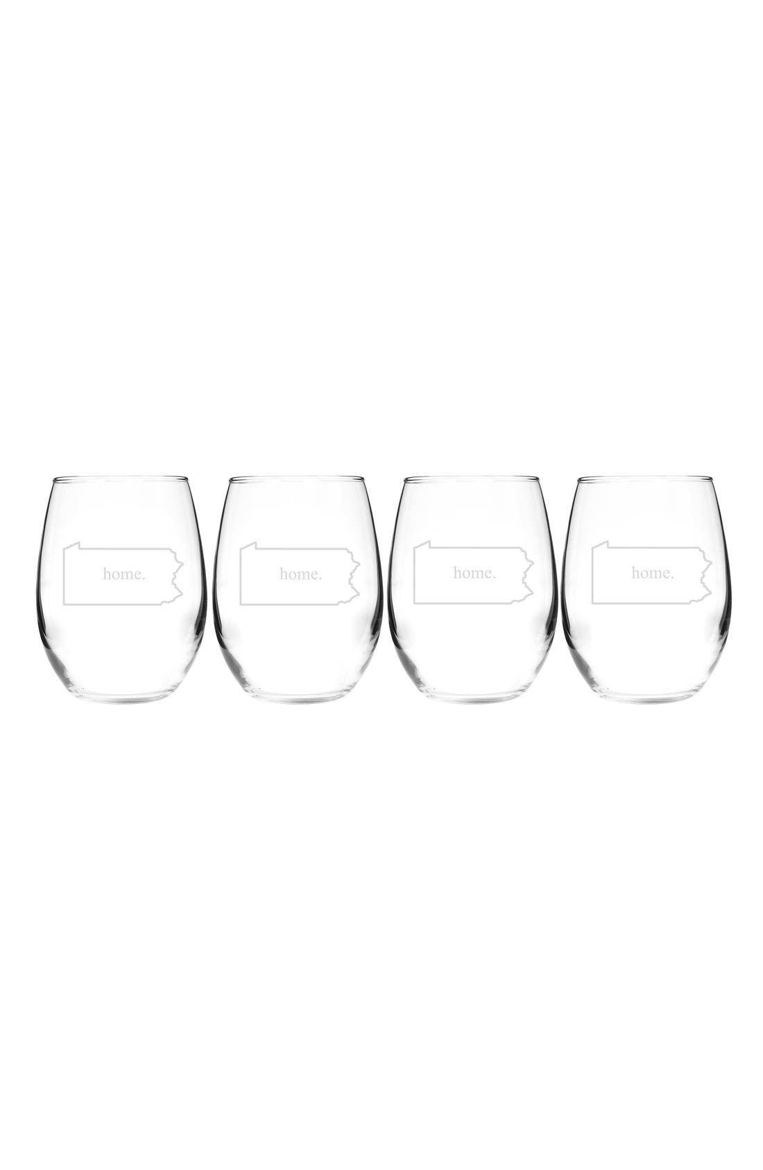 Home State Set of 4 Stemless Wine Glasses,                             Main thumbnail 39, color,