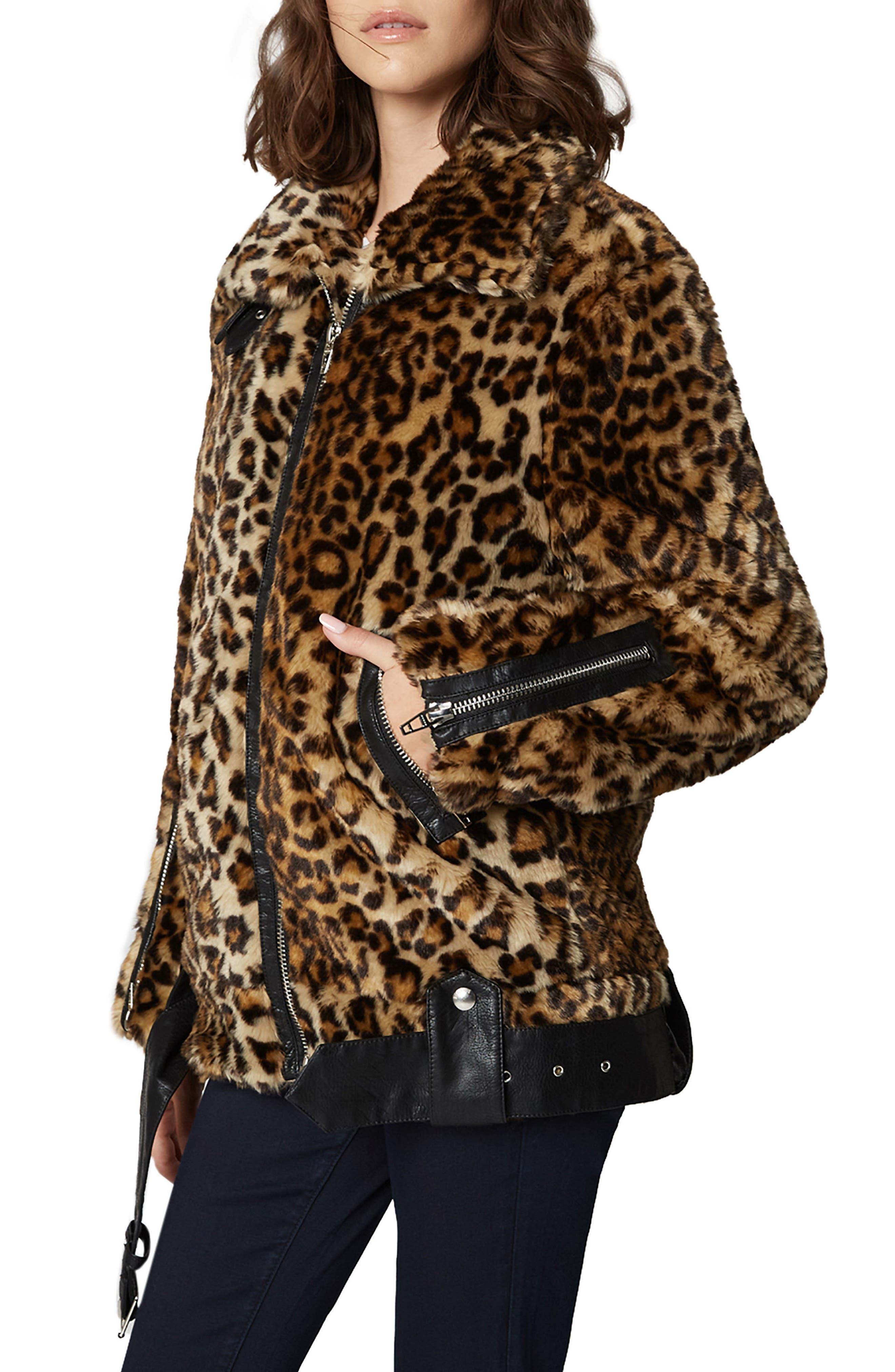 Leopard Faux Fur Jacket,                             Alternate thumbnail 3, color,                             NOTE TO SELF