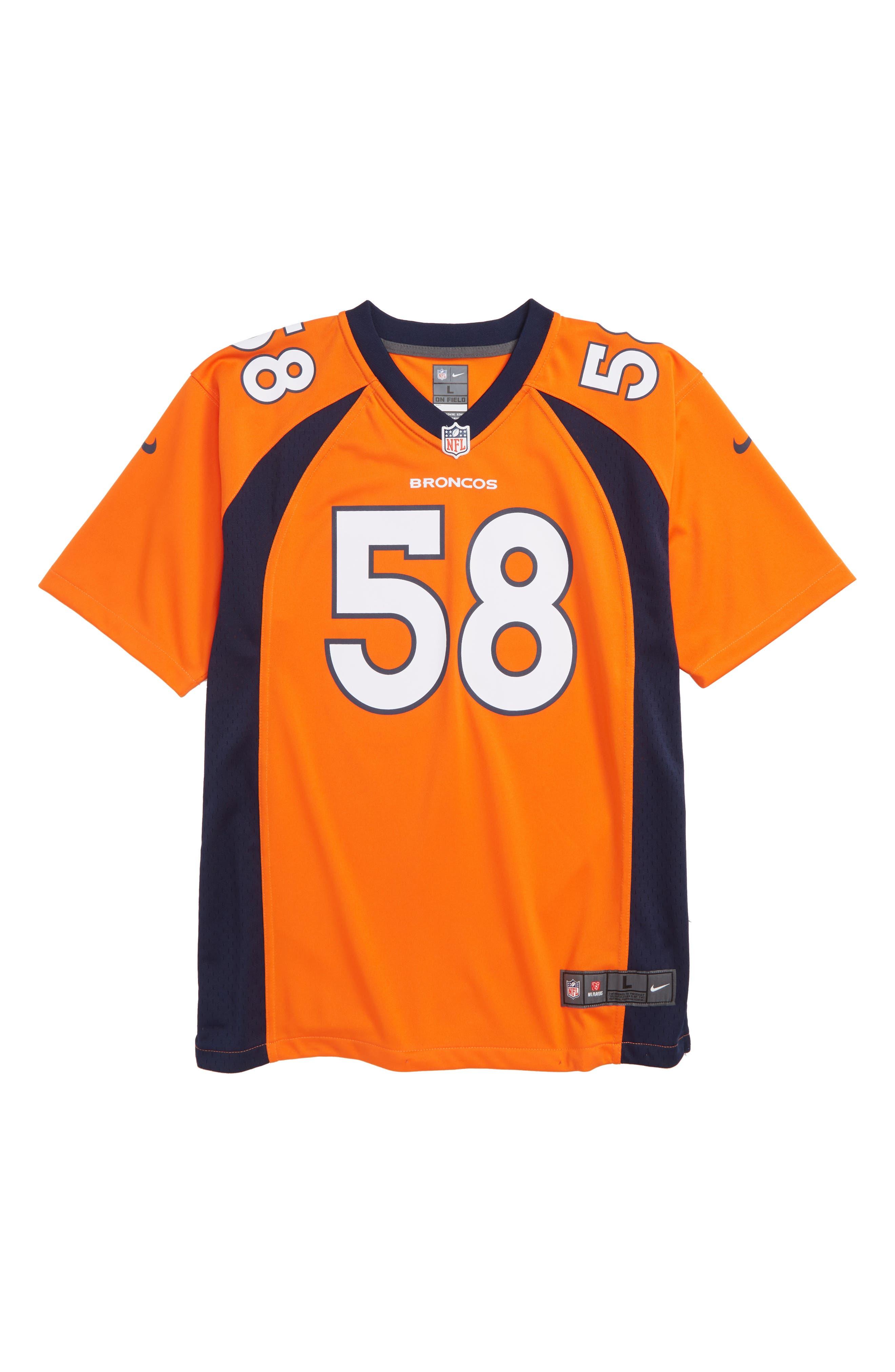 NFL Logo Denver Broncos Von Miller Jersey,                             Main thumbnail 1, color,                             ORANGE