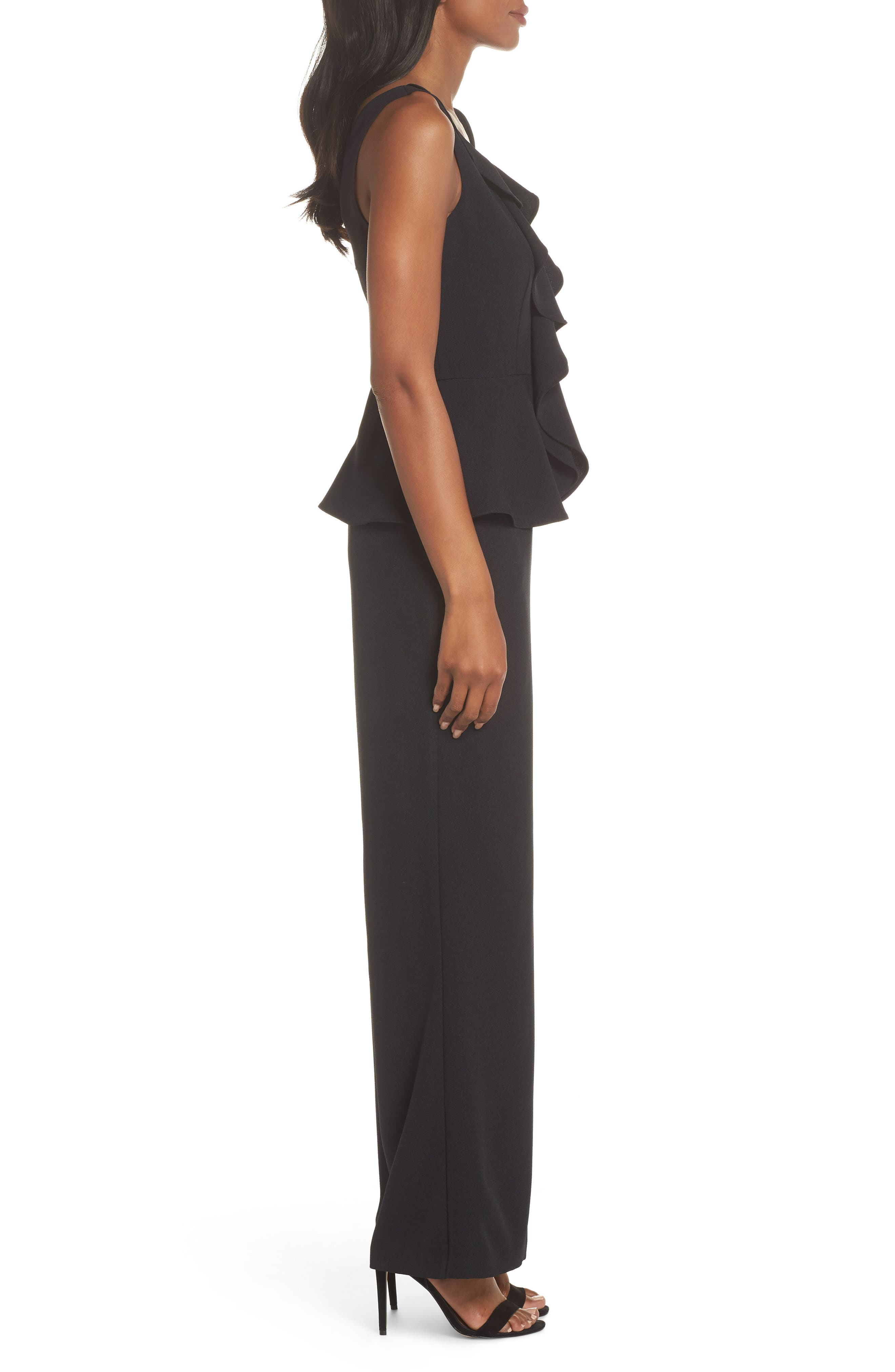 Sleeveless Peplum Jumpsuit,                             Alternate thumbnail 3, color,                             001