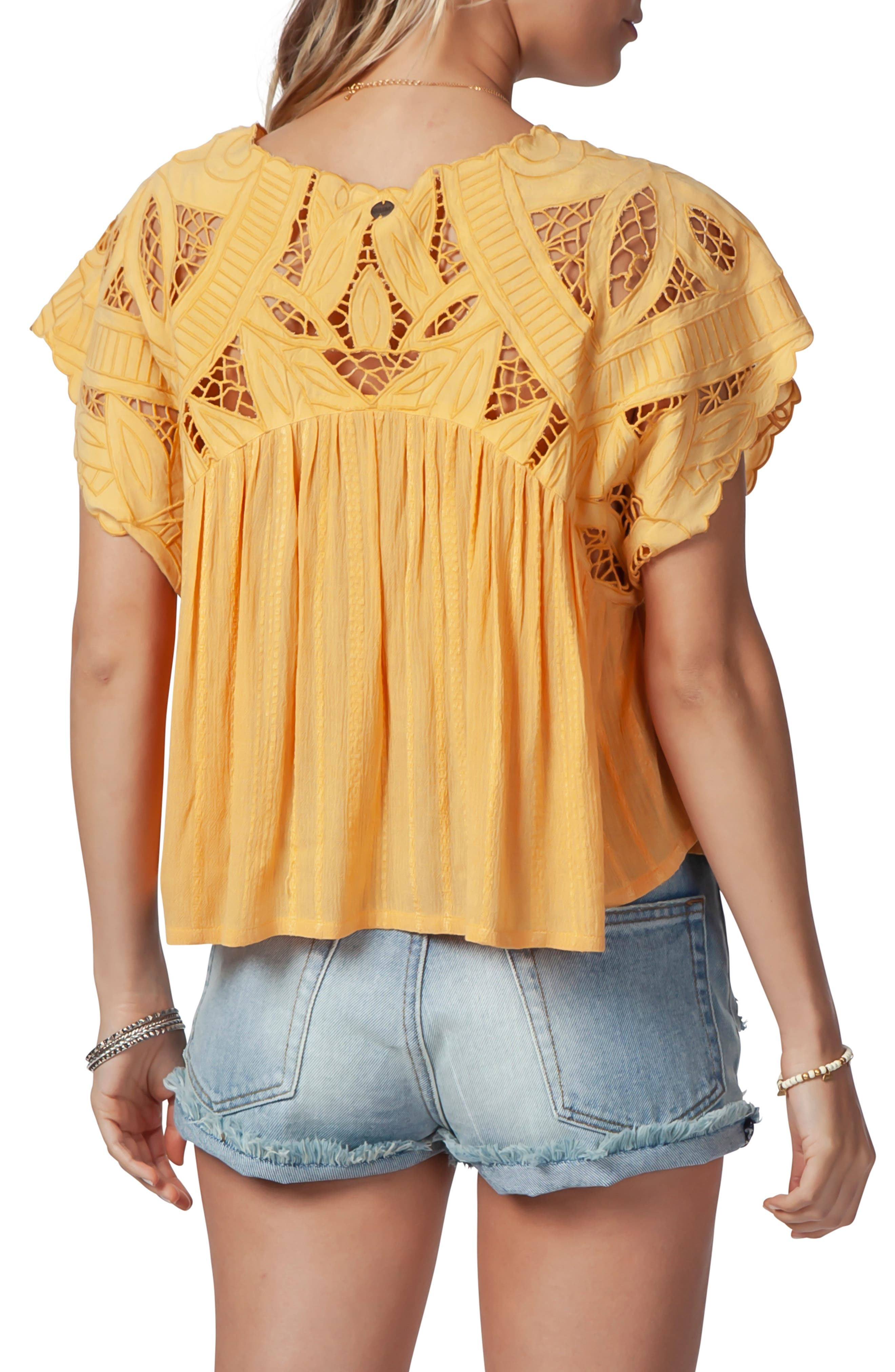 Seaview Cutwork Top,                             Alternate thumbnail 2, color,                             GOLD