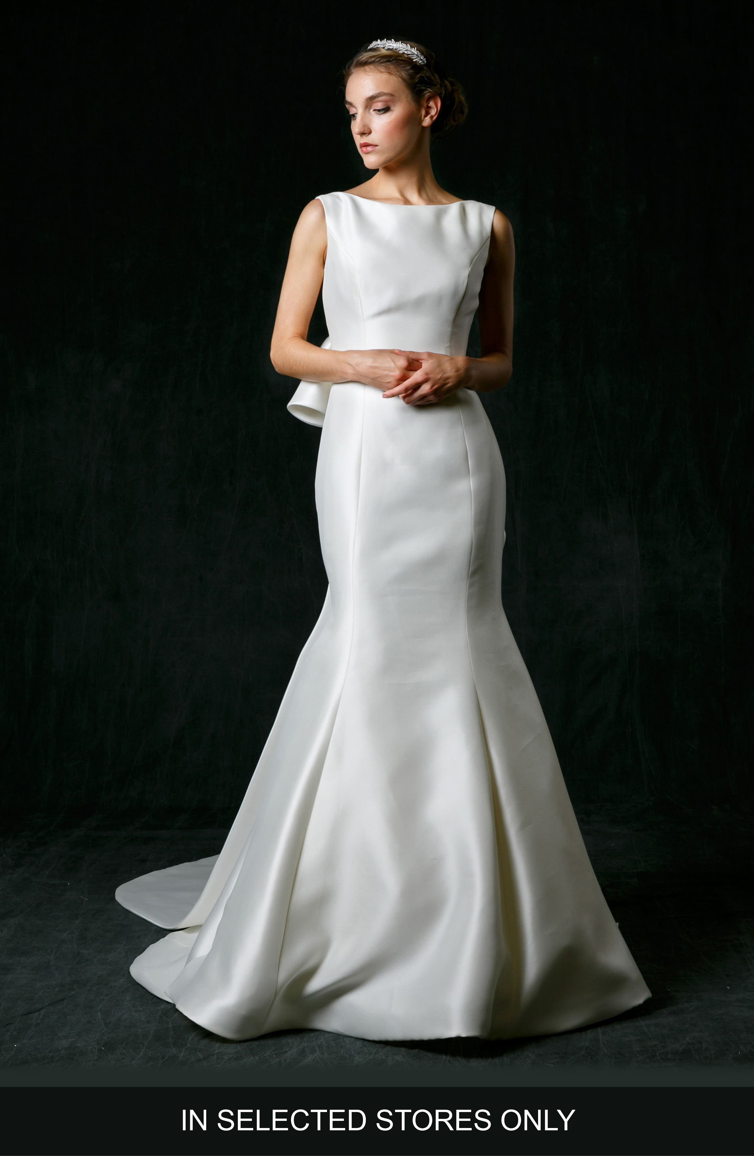 Naomi Bow Back Mikado Trumpet Gown,                         Main,                         color, IVORY