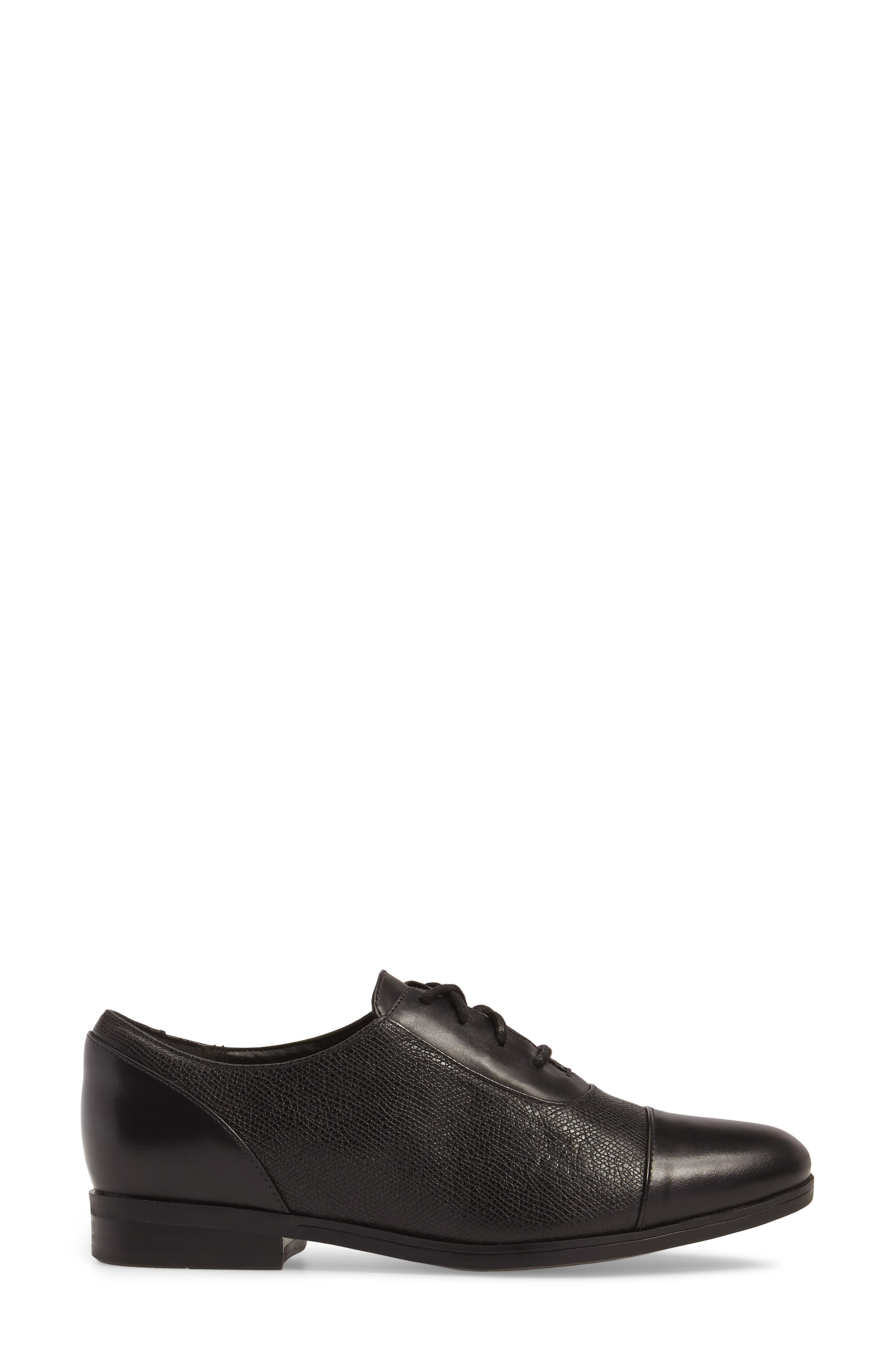 Tilmont Ivy Oxford,                             Alternate thumbnail 3, color,                             BLACK LEATHER