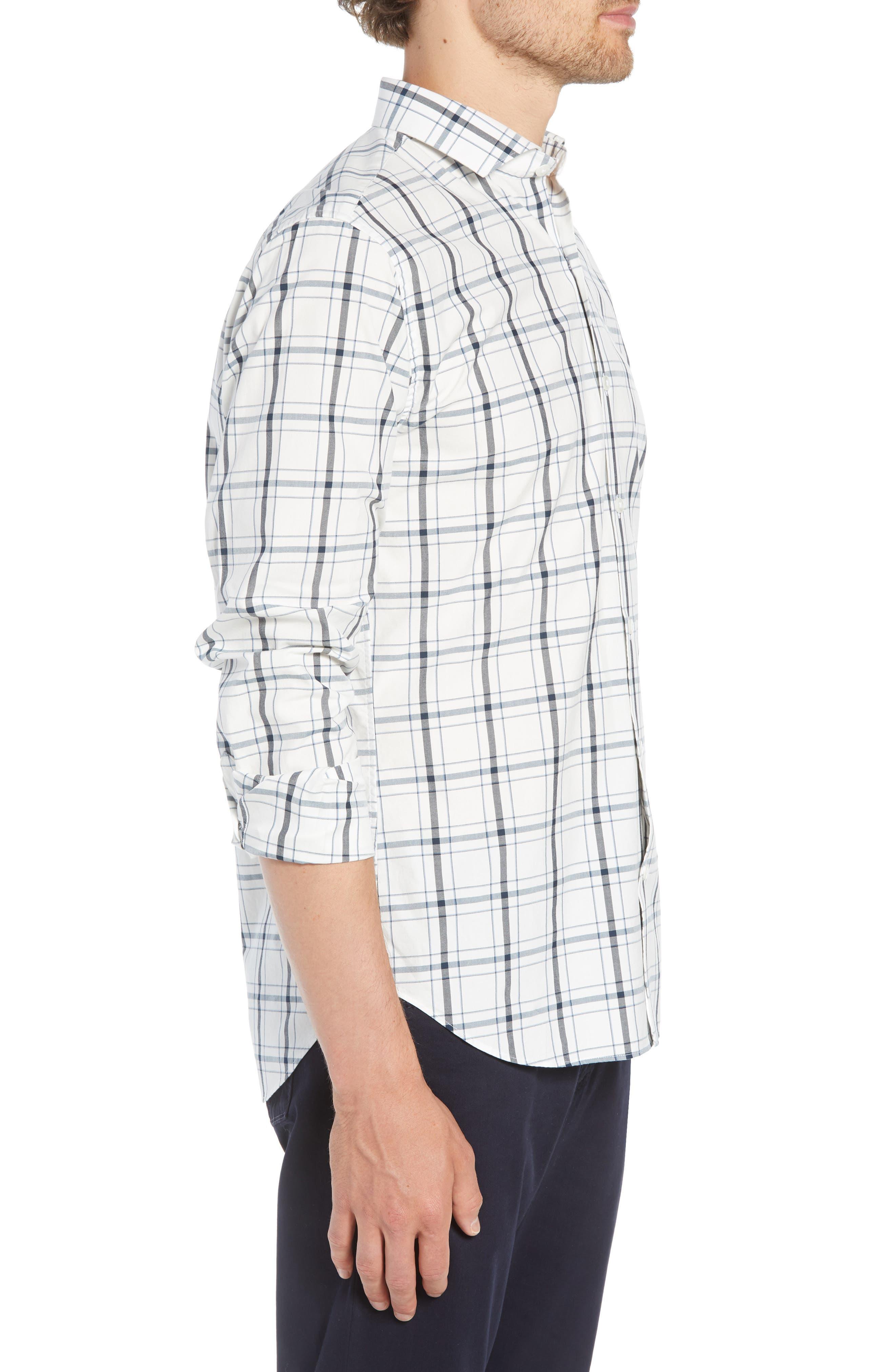 Unbutton Down Slim Fit Plaid Sport Shirt,                             Alternate thumbnail 4, color,                             GOLDHURST PLAID -BLUE JAY