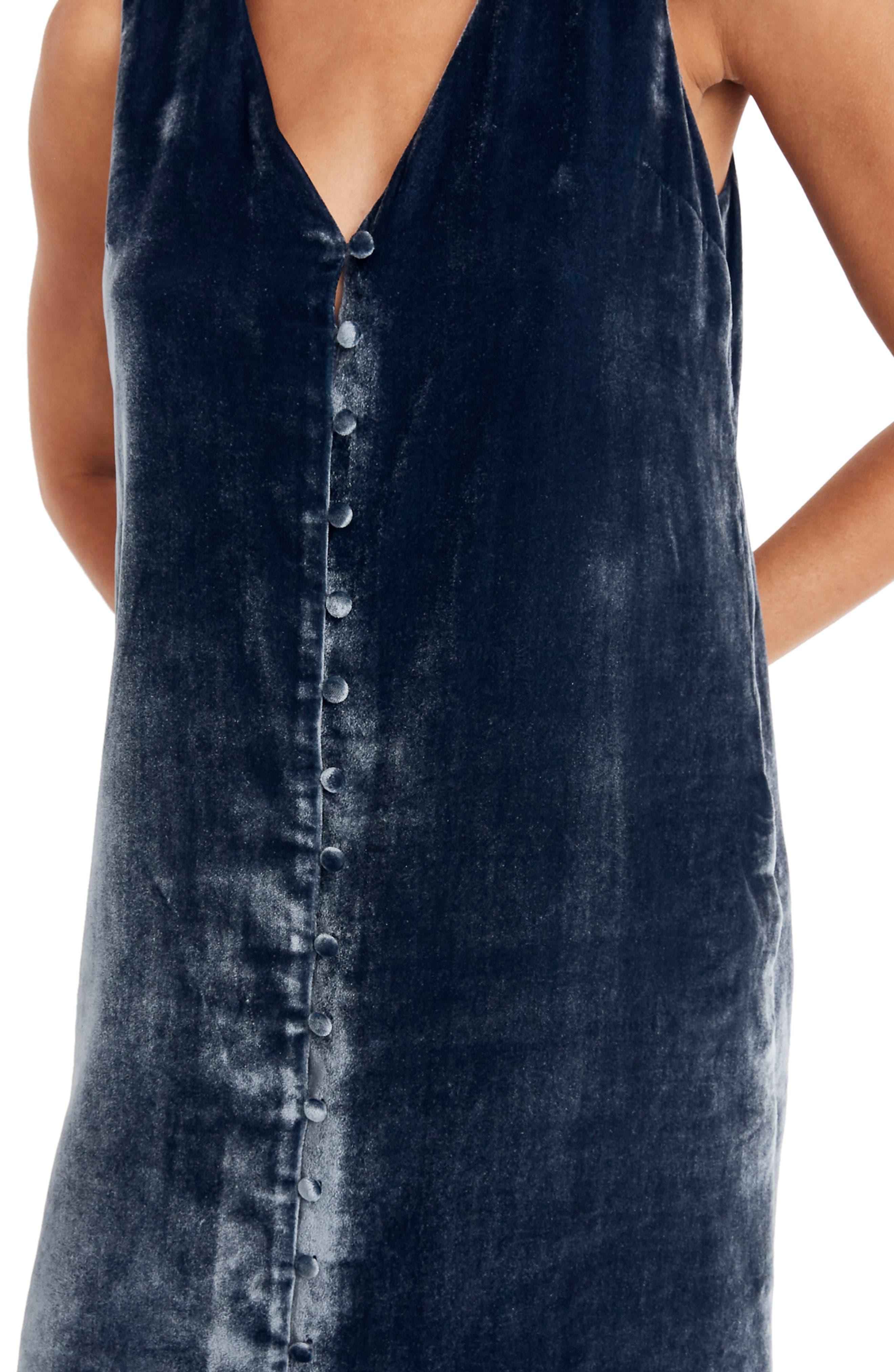 Velvet Button Front Midi Dress,                             Alternate thumbnail 4, color,                             400