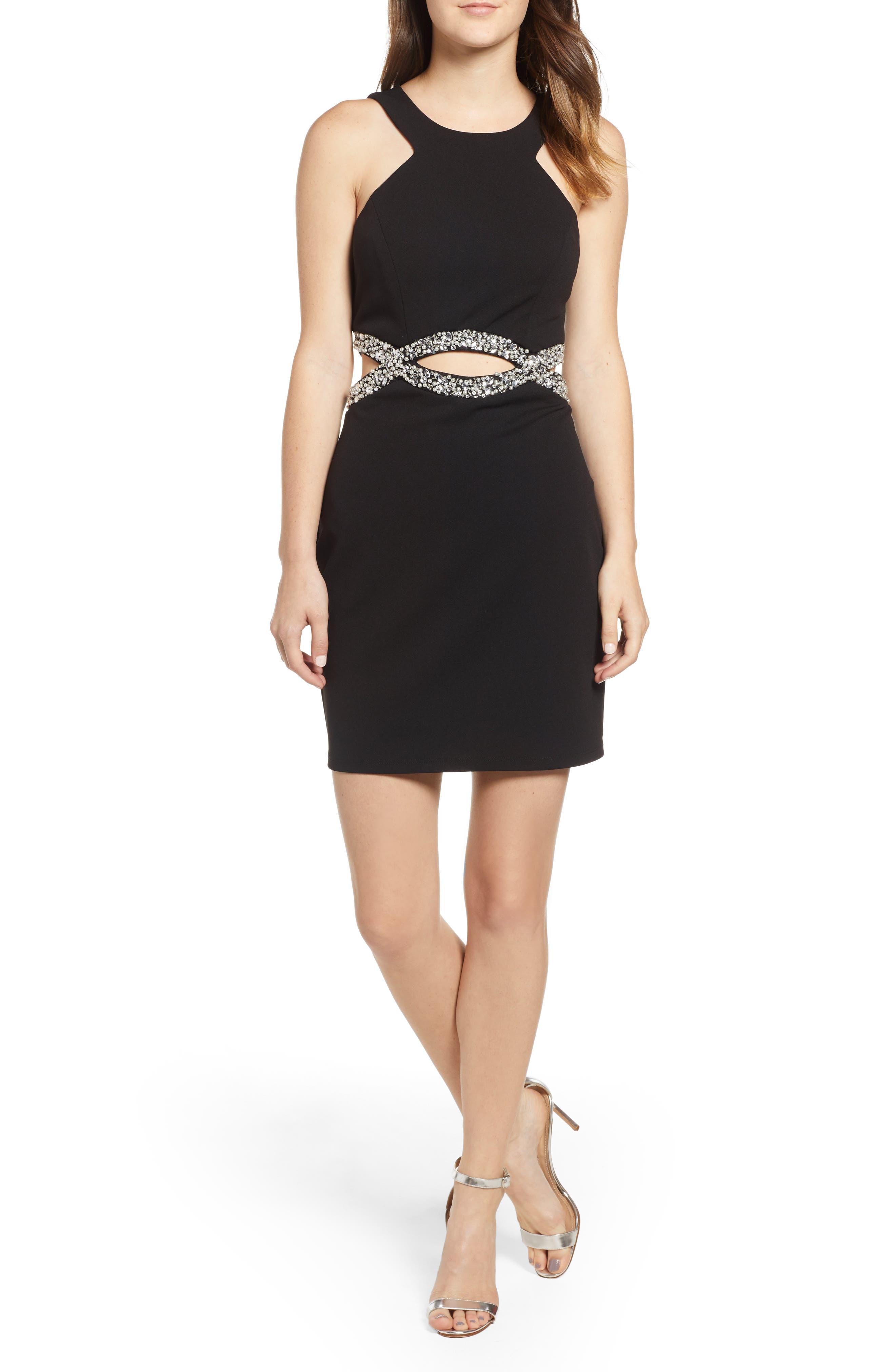 Scuba Dress,                             Main thumbnail 1, color,                             BLACK