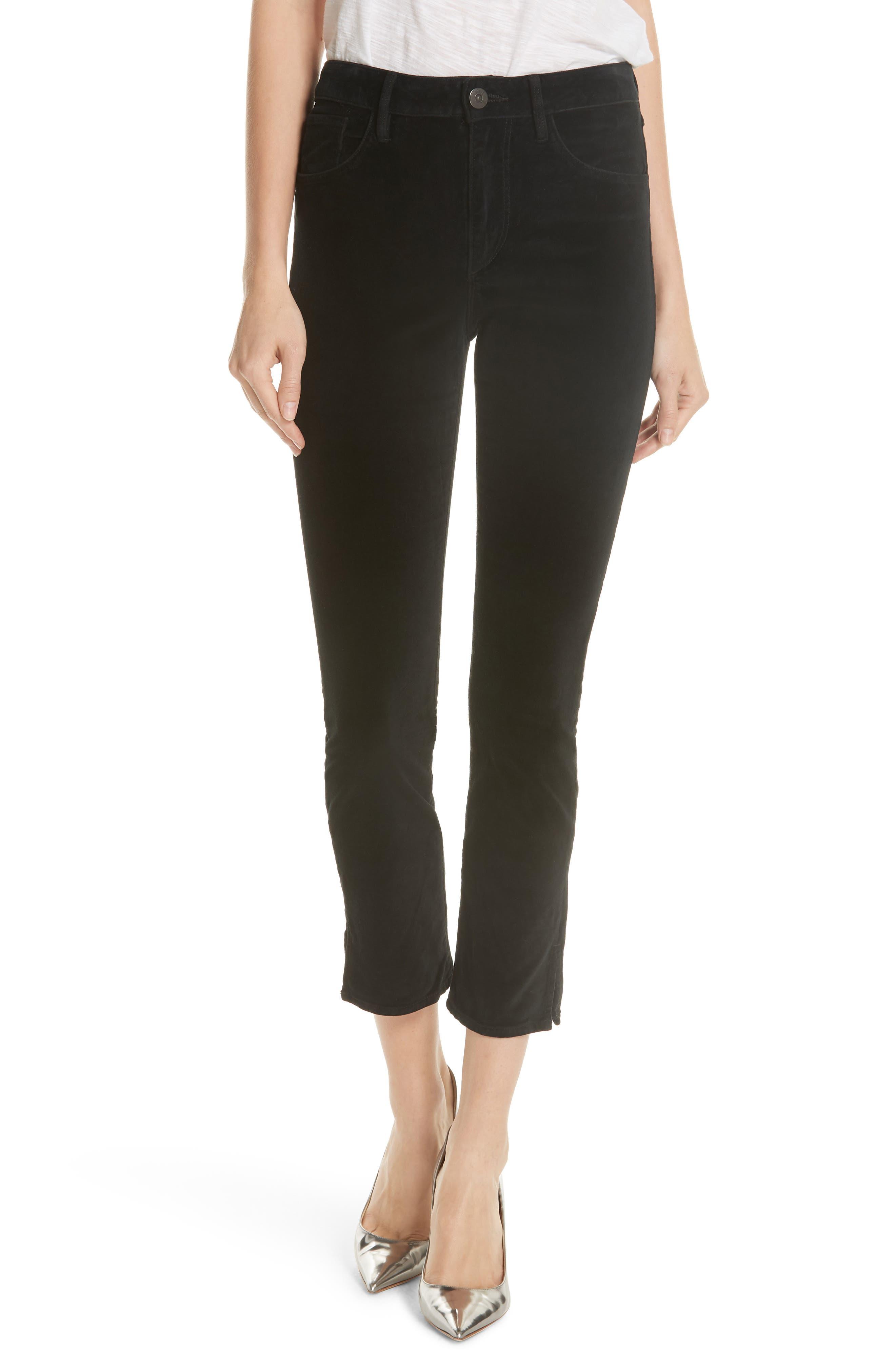 W3 Higher Ground Mini Split Ankle Velvet Jeans,                             Main thumbnail 1, color,                             EBONY EBONY