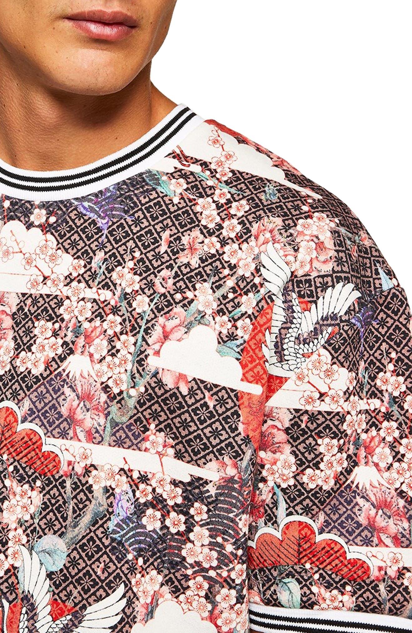 Japanese Tile Print Short Sleeve Sweatshirt,                             Alternate thumbnail 3, color,                             600