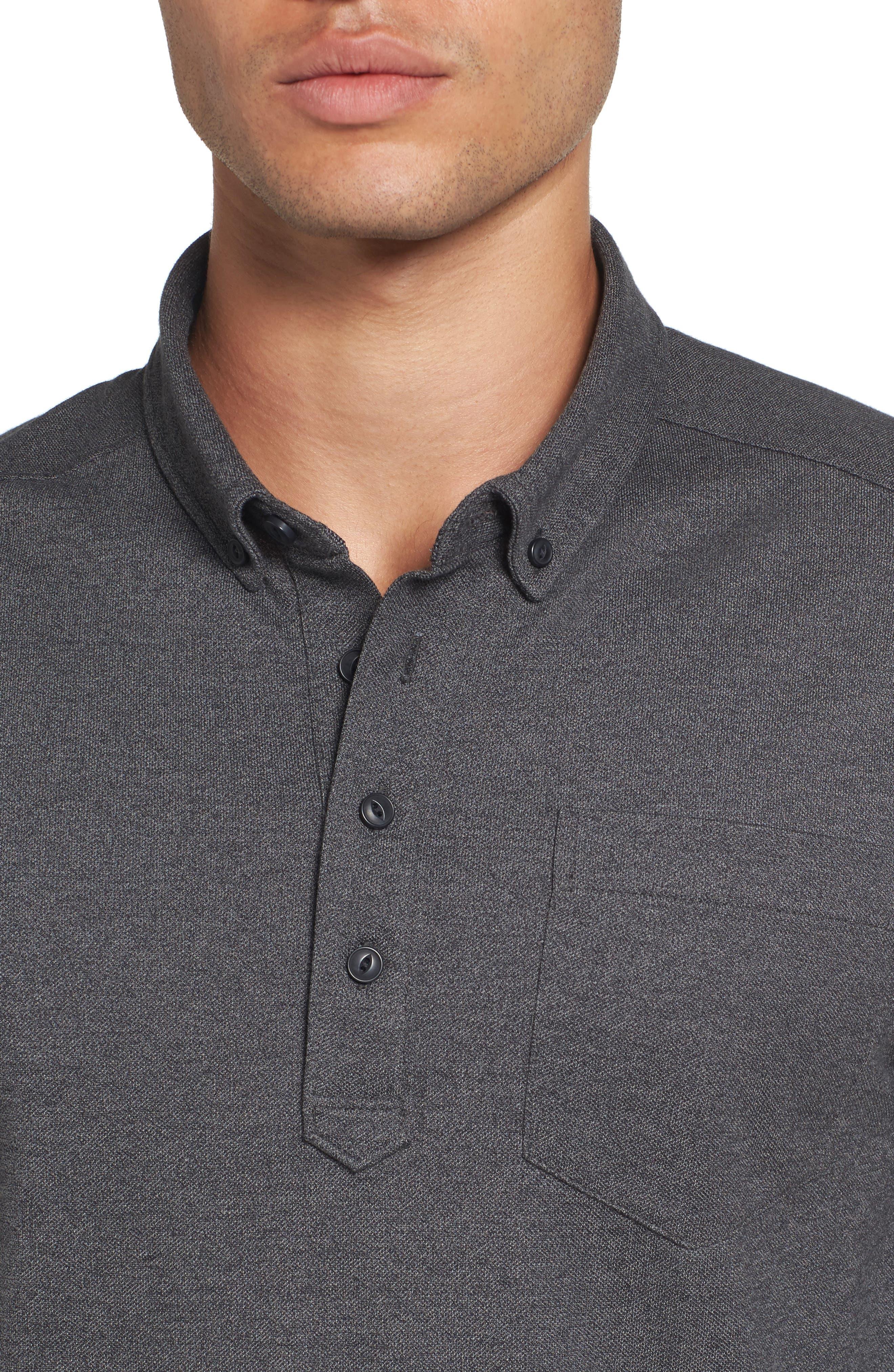 Long Sleeve Polo,                             Alternate thumbnail 4, color,                             BLACK CAVIAR MELANGE