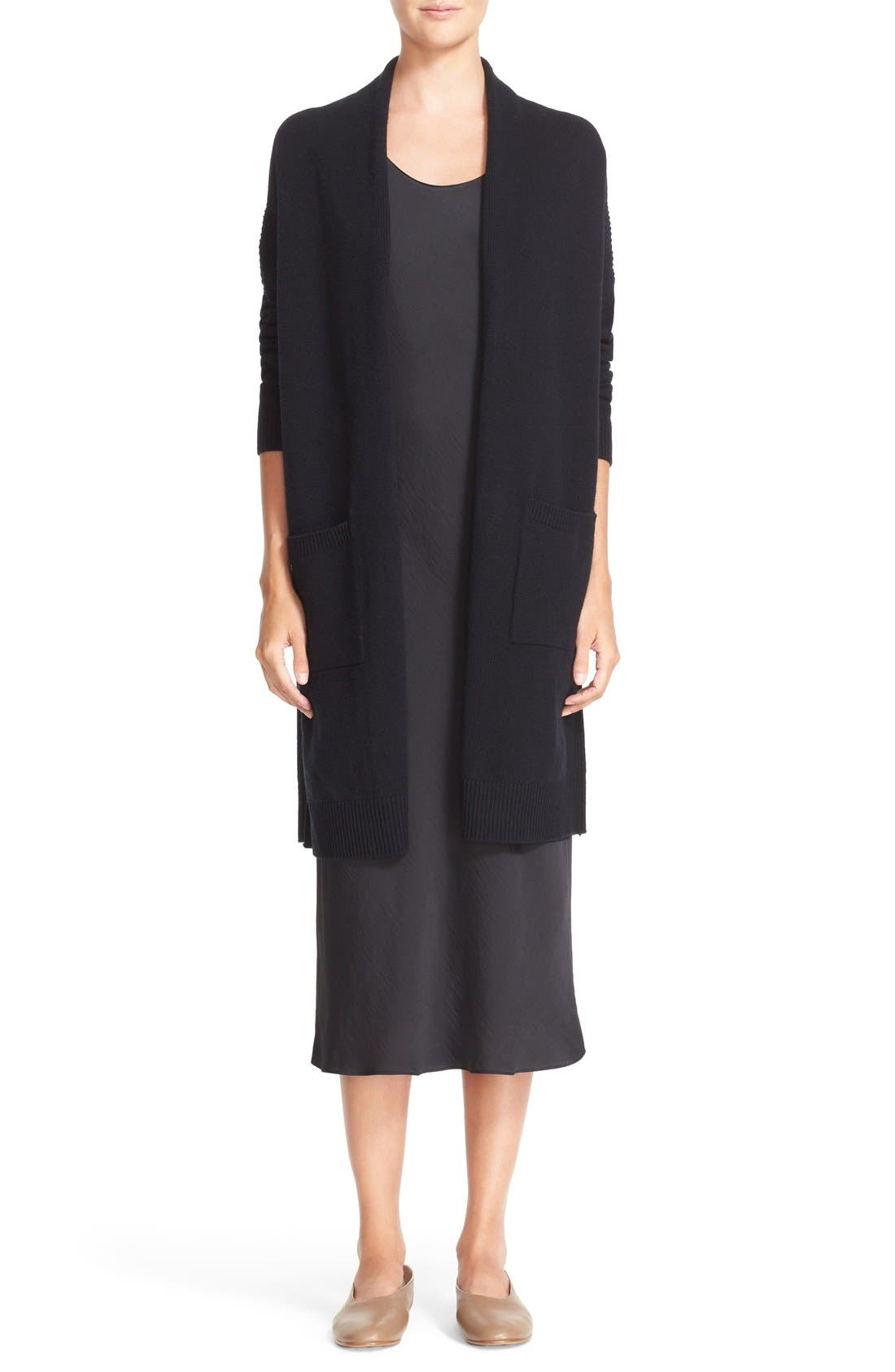 Side Slit Wool & Cashmere Cardigan, Main, color, 001