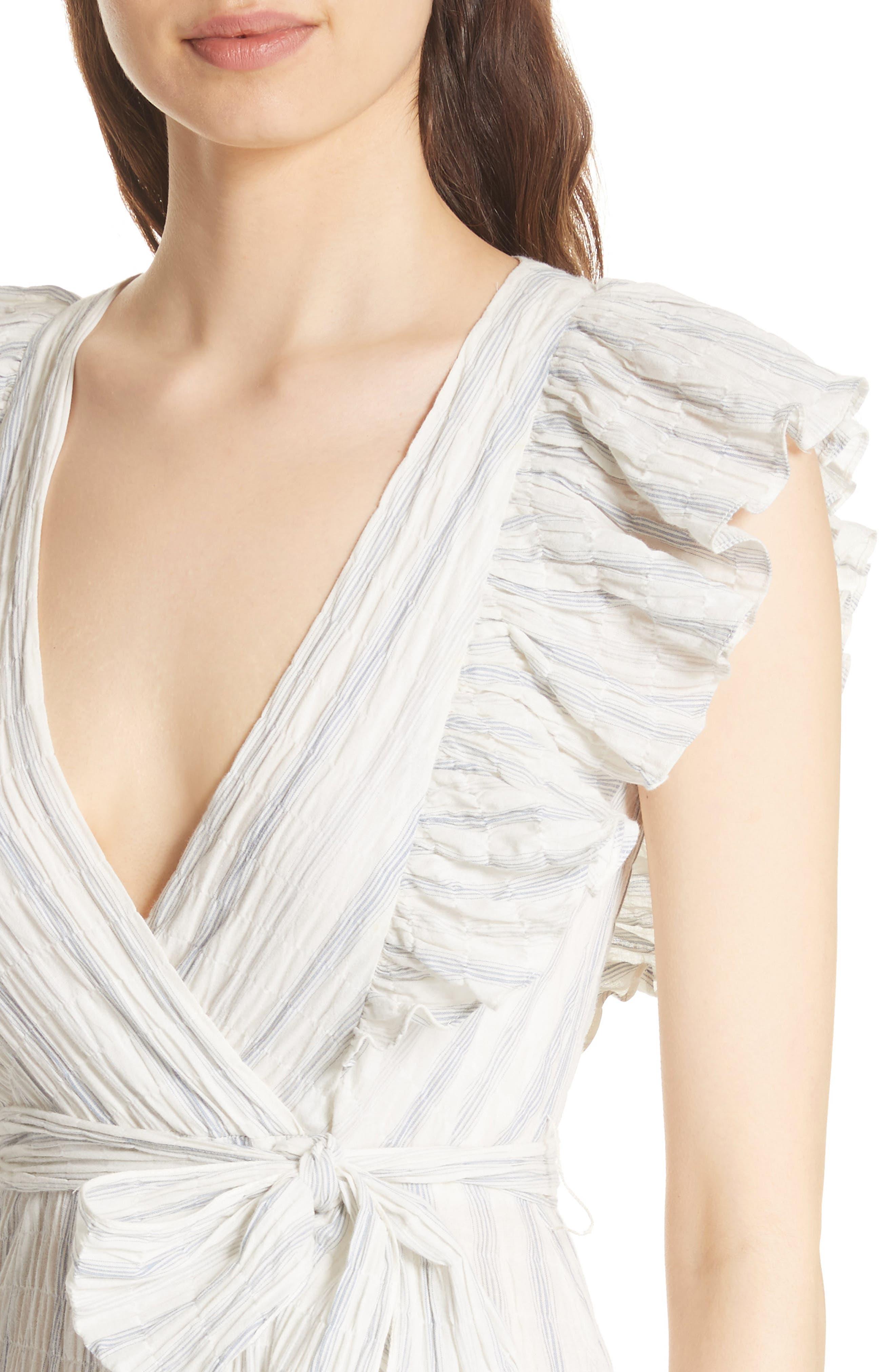 Stripe Midi Dress,                             Alternate thumbnail 4, color,                             103