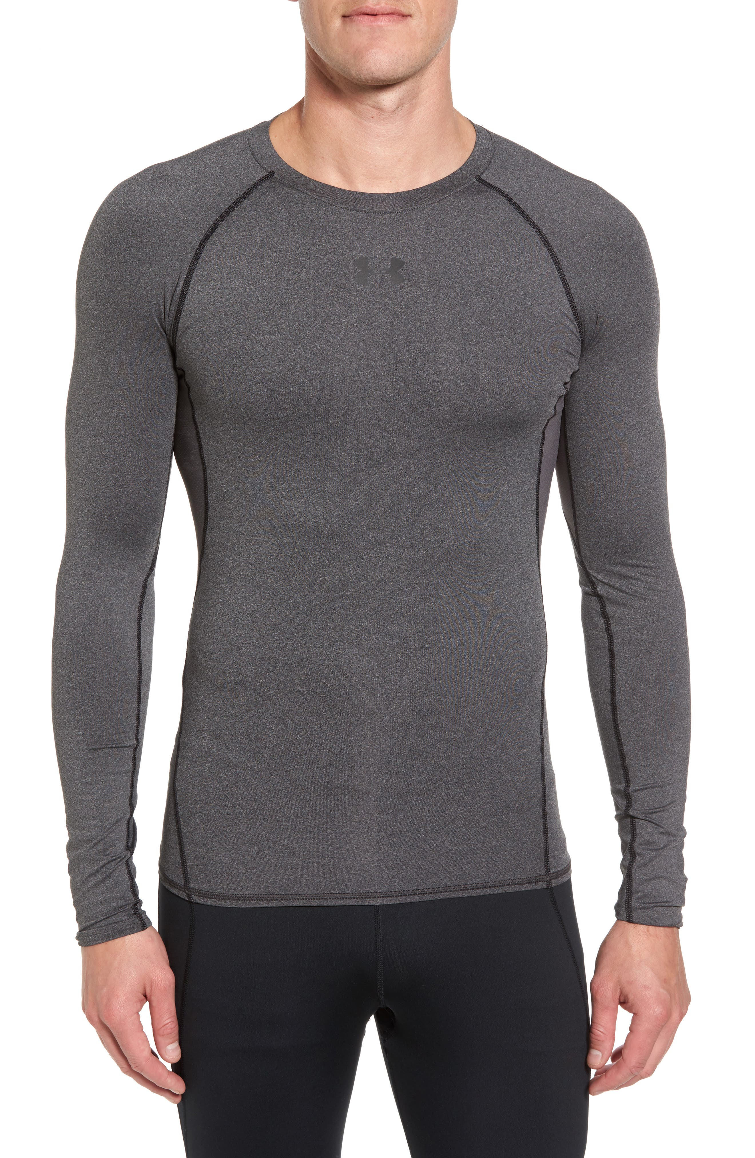 HeatGear<sup>®</sup> Compression Fit Long Sleeve T-Shirt,                             Main thumbnail 1, color,                             CARBON HEATHER/ BLACK