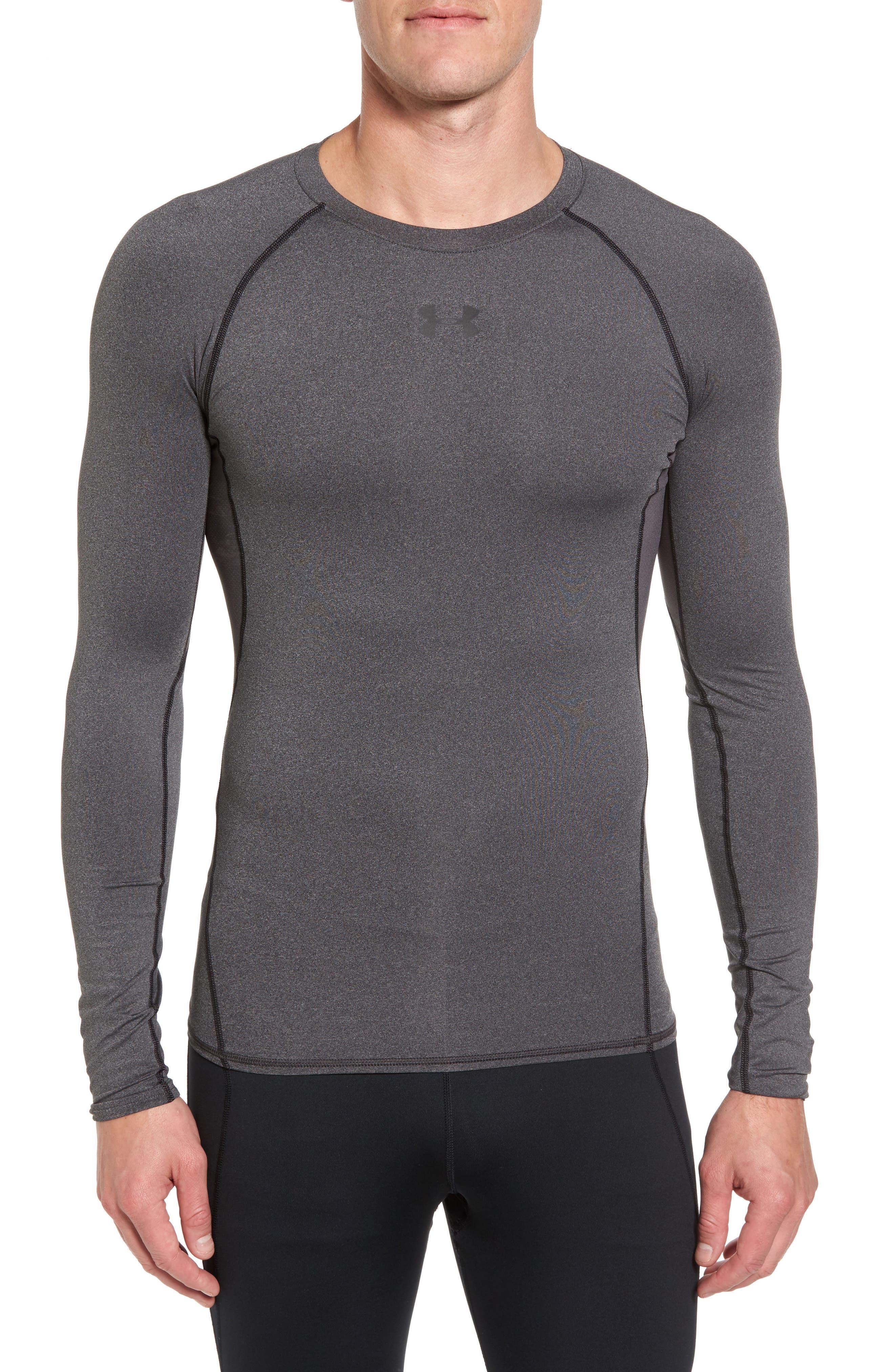 HeatGear<sup>®</sup> Compression Fit Long Sleeve T-Shirt,                         Main,                         color, CARBON HEATHER/ BLACK