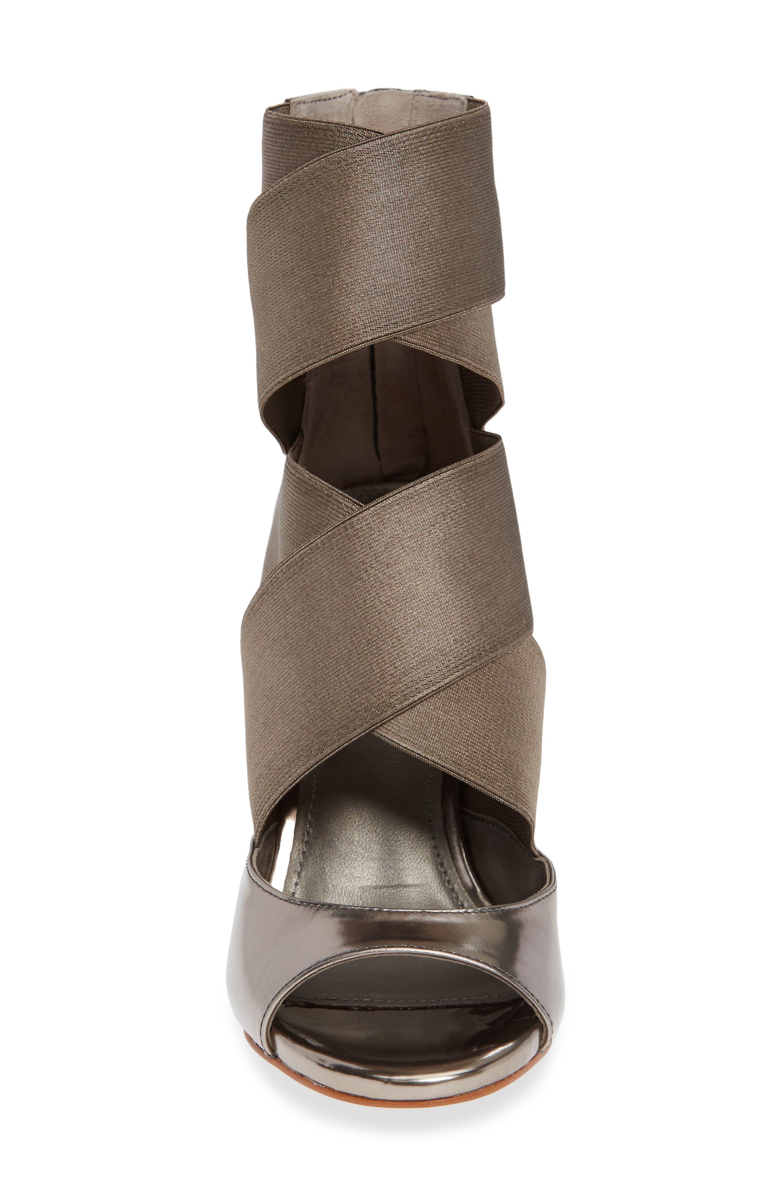 Donna Karan Briana Strappy High Sandal,                             Alternate thumbnail 4, color,                             DARK PEWTER
