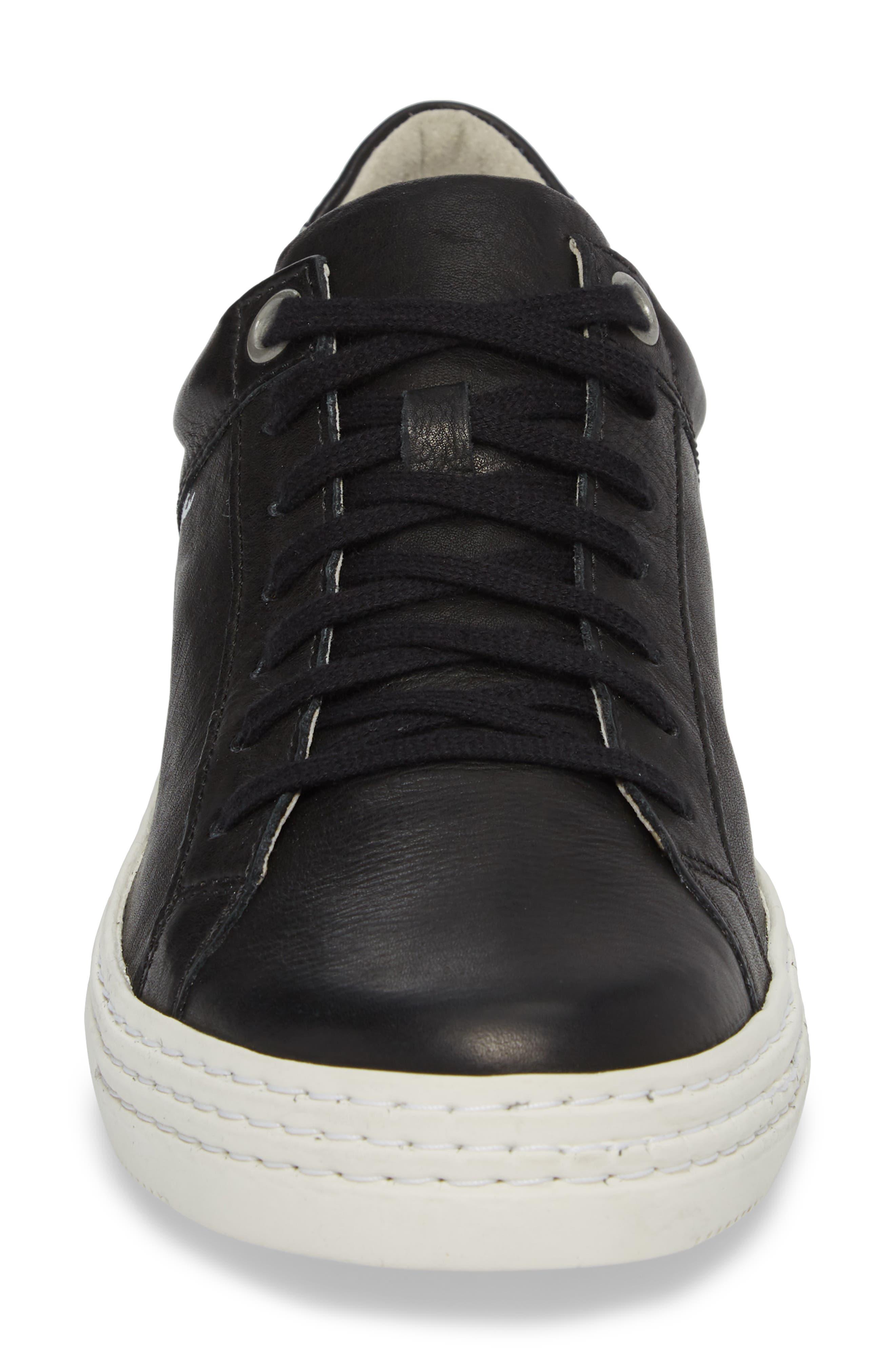 Sene Low Top Sneaker,                             Alternate thumbnail 4, color,                             BLACK LEATHER