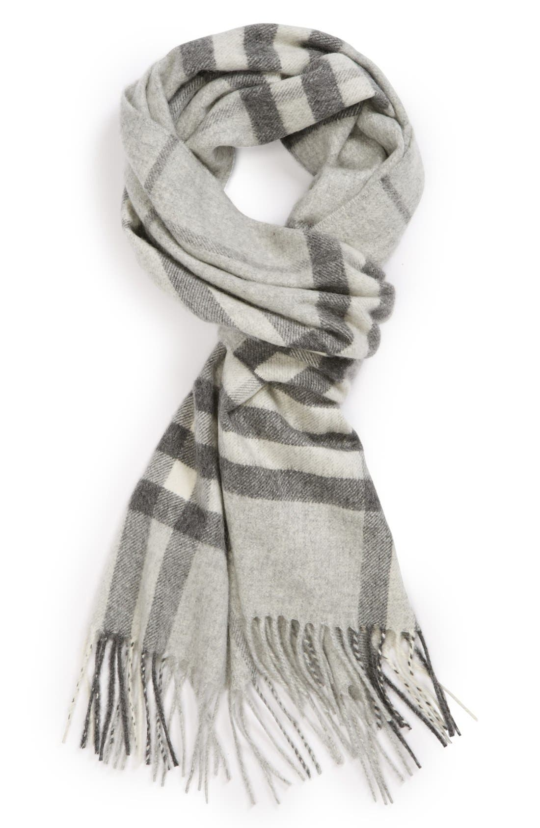 BURBERRY,                             Heritage Giant Check Fringed Cashmere Muffler,                             Alternate thumbnail 2, color,                             PALE GREY