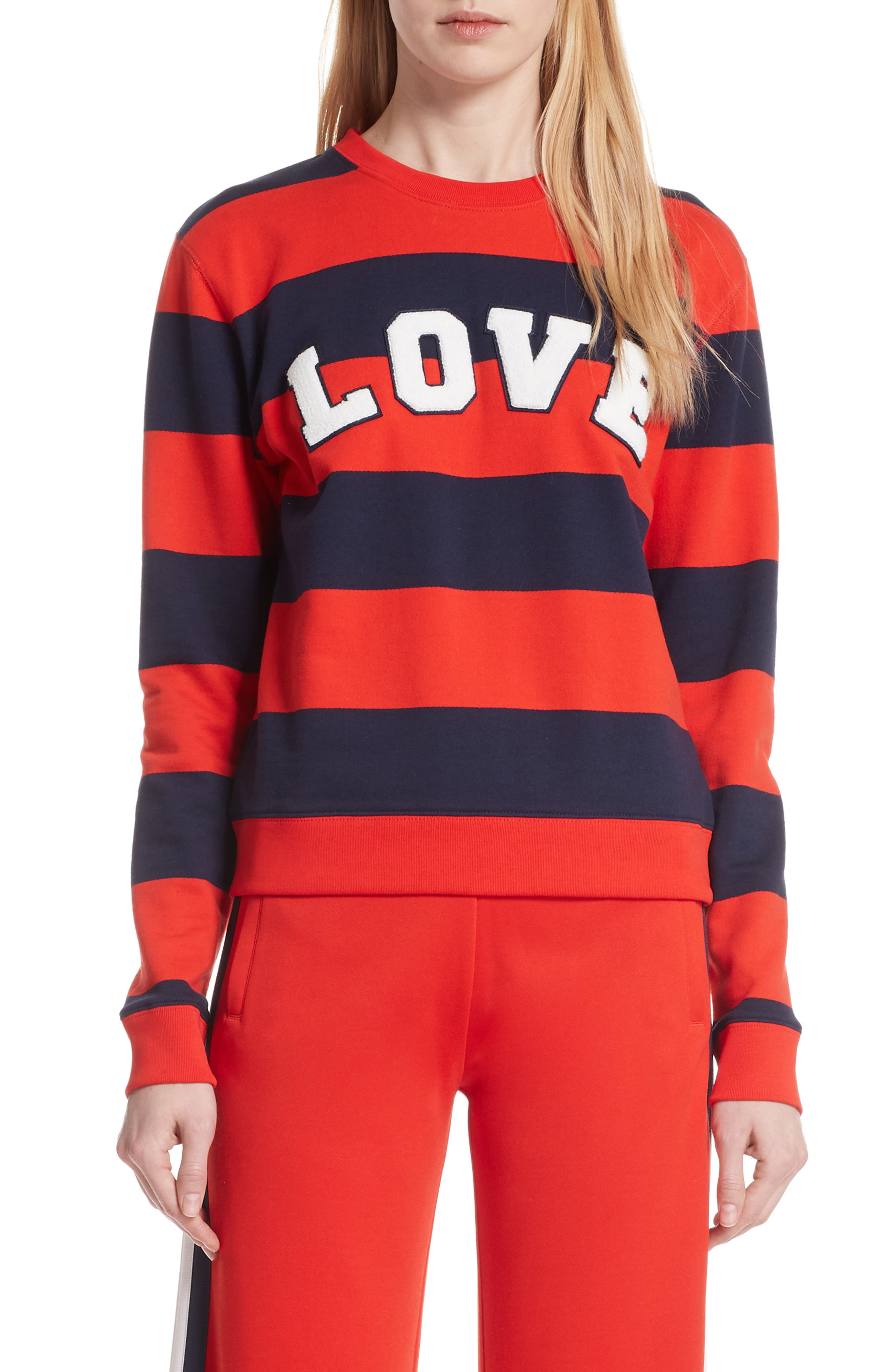 Love Stripe Sweatshirt,                             Main thumbnail 1, color,                             RED BROAD STRIPE