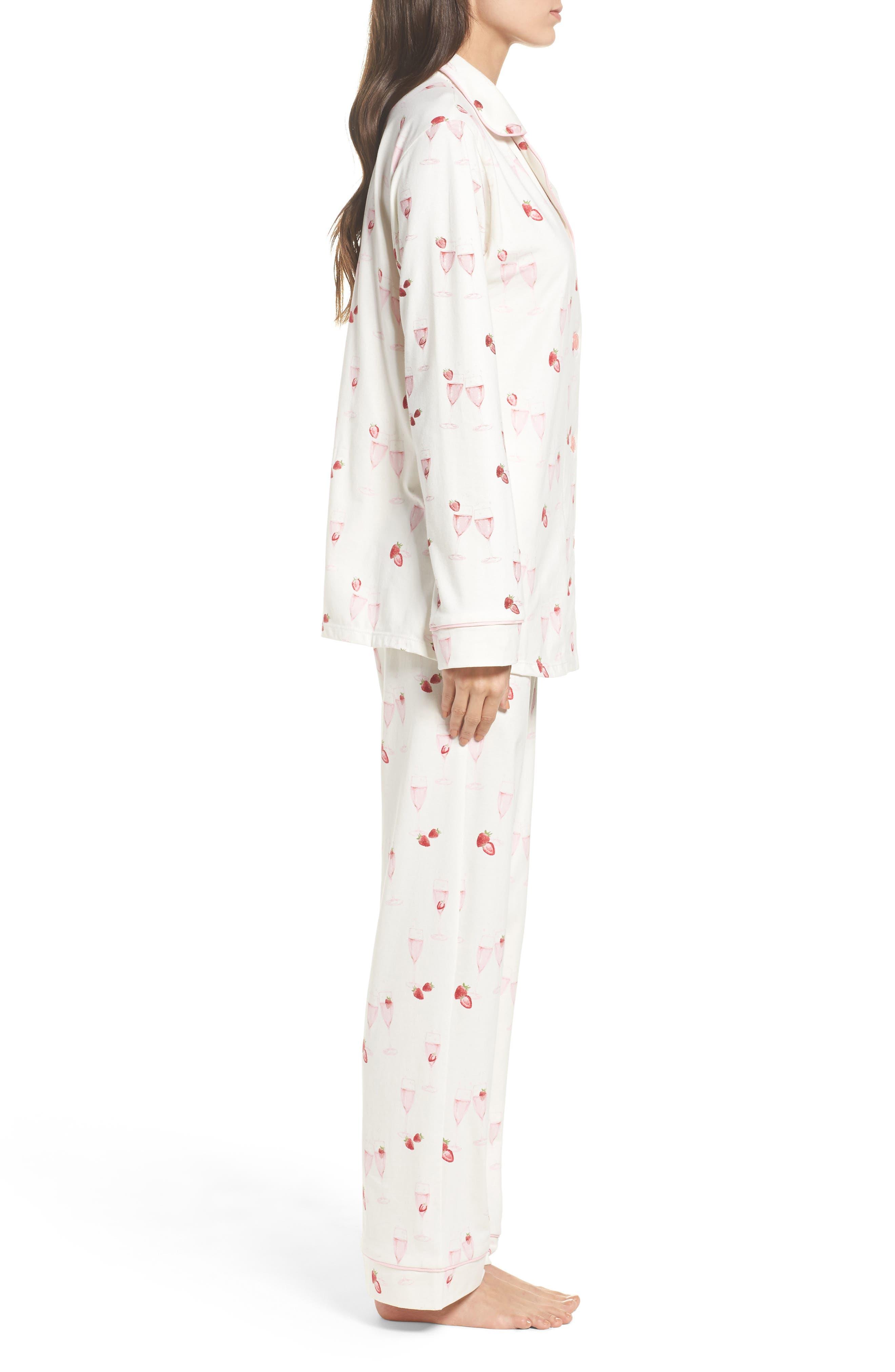 Strawberries & Champagne Print Pajamas,                             Alternate thumbnail 3, color,