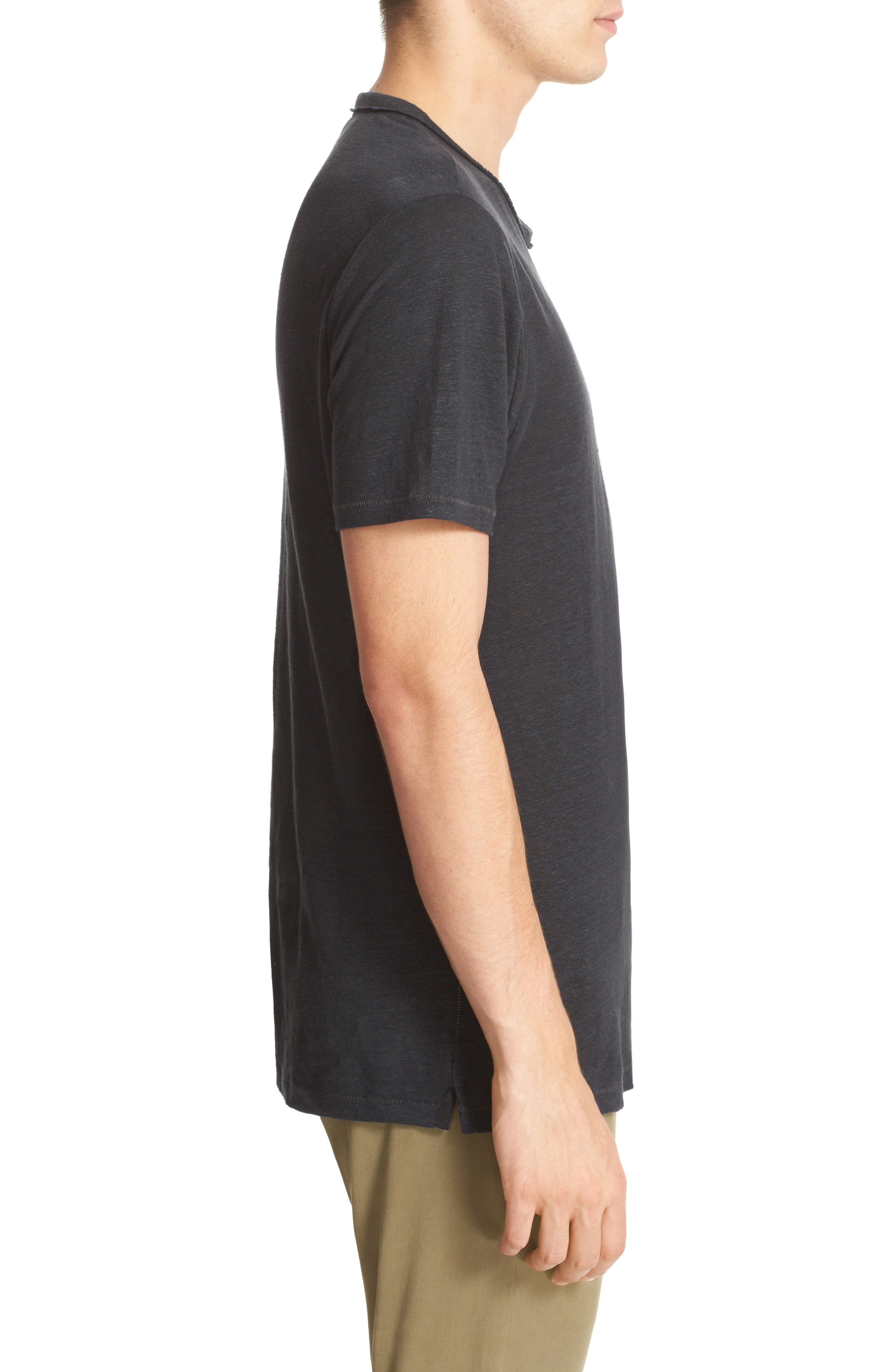 Owen Slub Linen T-Shirt,                             Alternate thumbnail 3, color,                             001