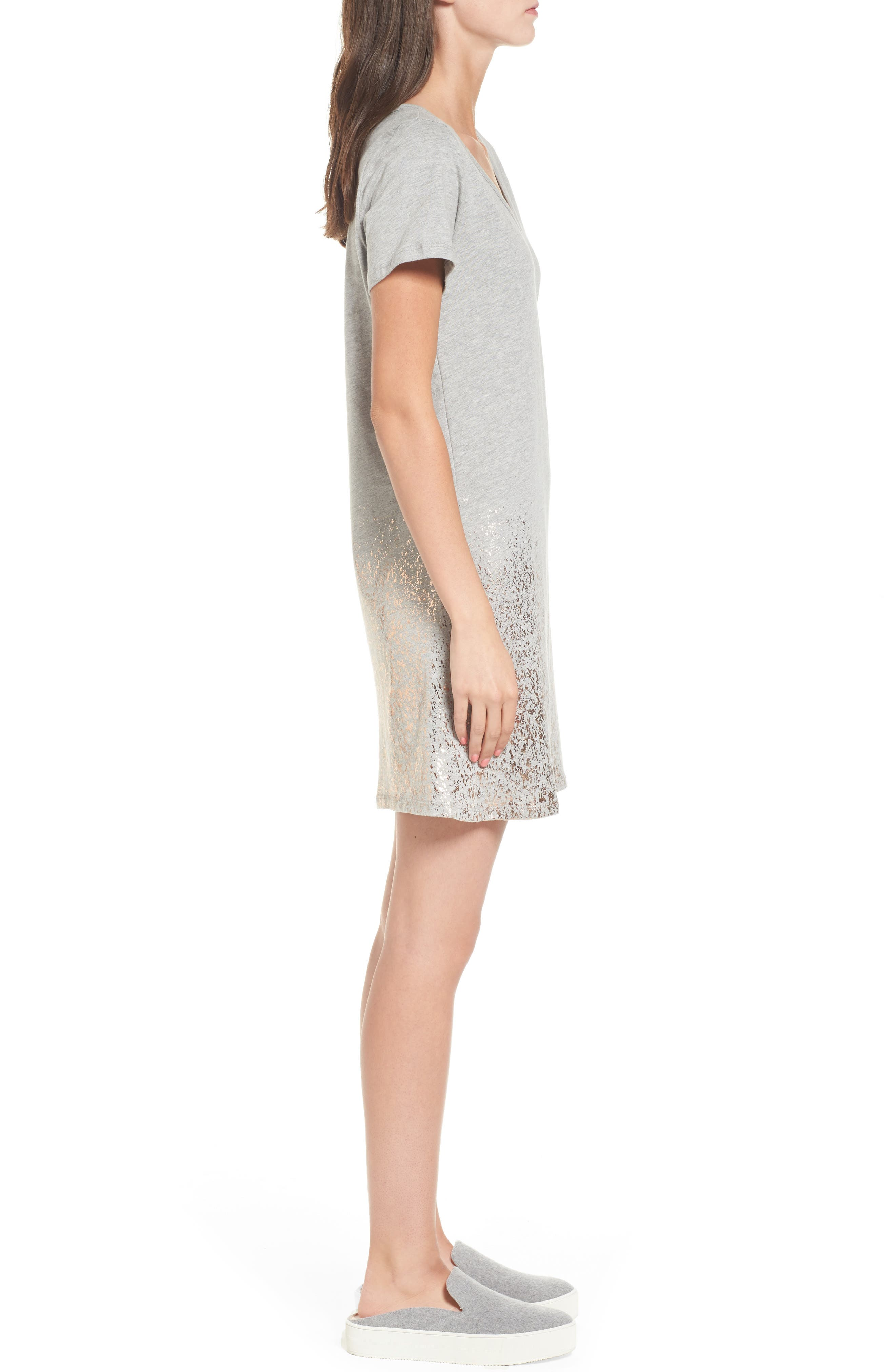 Foil Detail T-Shirt Dress,                             Alternate thumbnail 8, color,