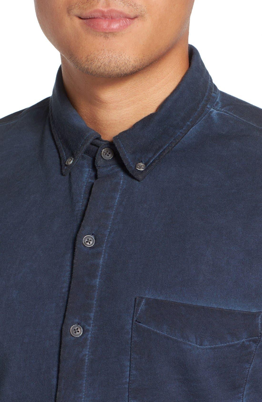 Slim Fit Garment Washed Sport Shirt,                             Alternate thumbnail 3, color,                             410