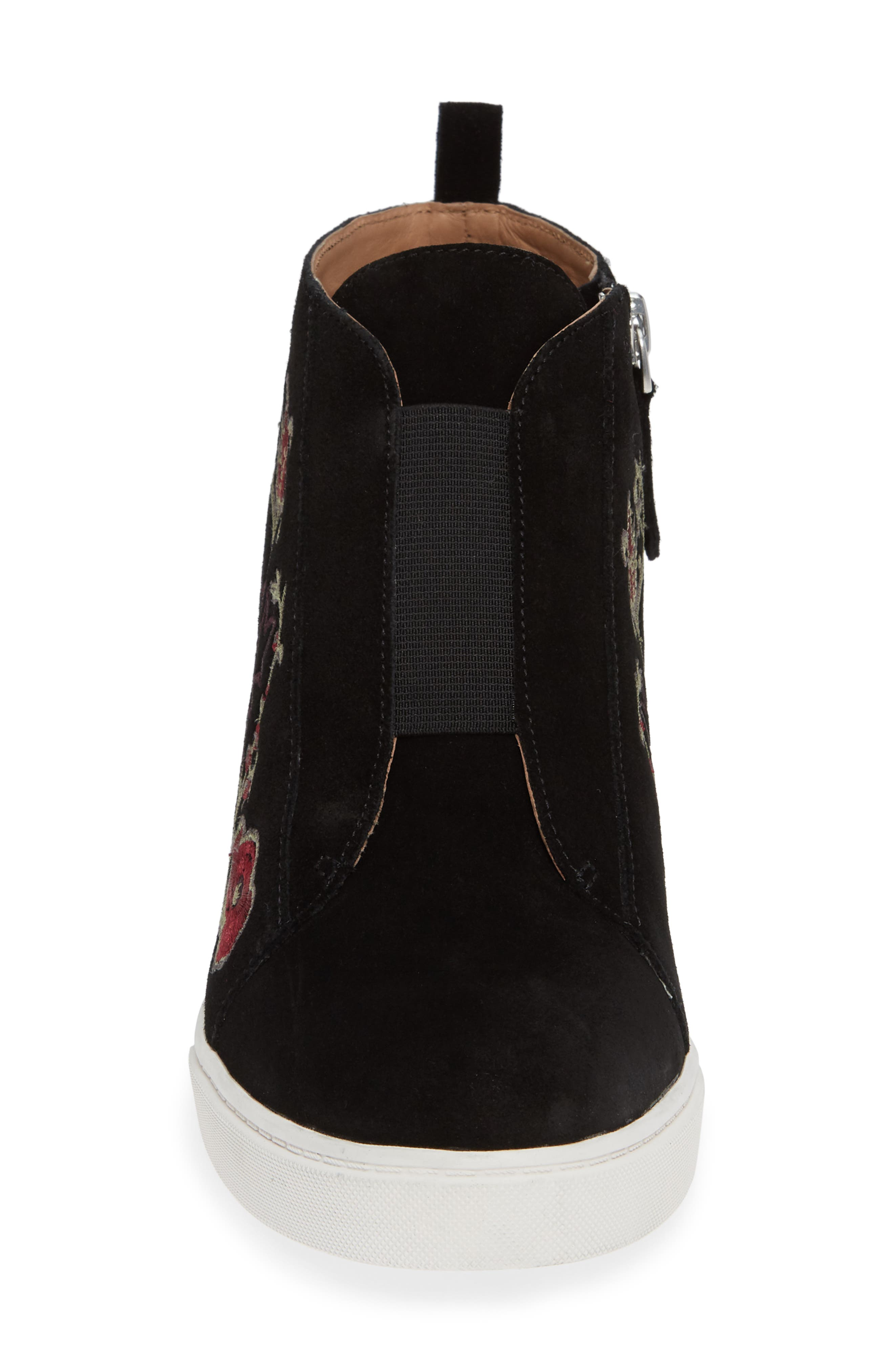 Felicia II Wedge Bootie,                             Alternate thumbnail 4, color,                             BLACK/ BLACK EMBROIDERY SUEDE