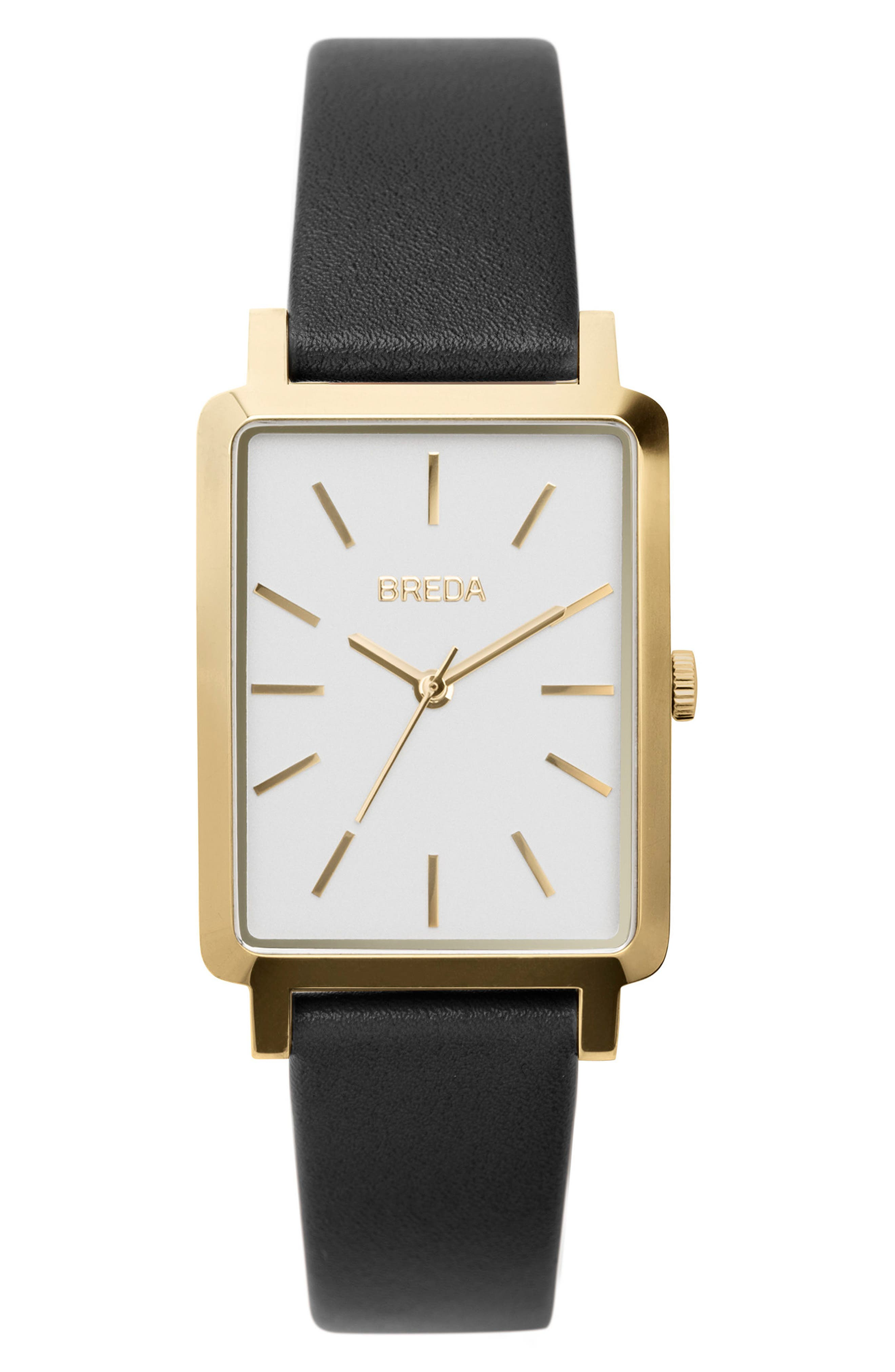 Baer Rectangular Leather Strap Watch, 26mm,                             Main thumbnail 1, color,                             001