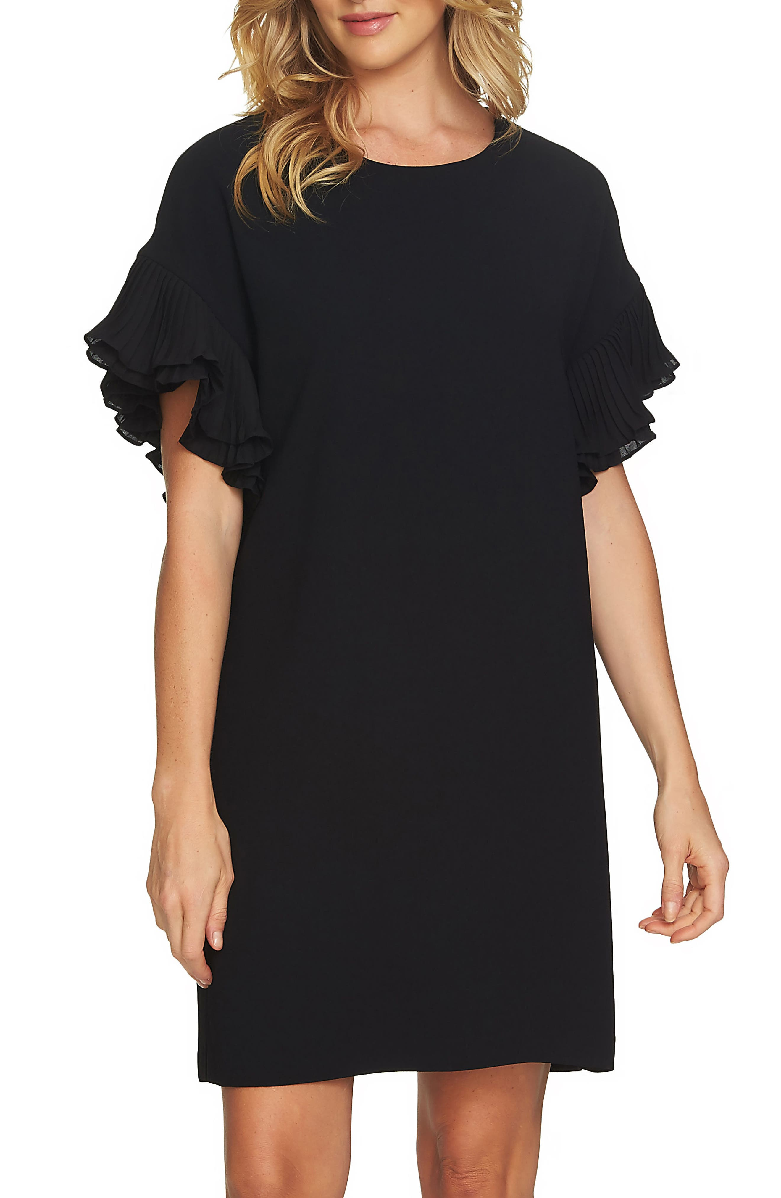 Tiered Pleated Crepe Shift Dress,                             Main thumbnail 1, color,                             RICH BLACK