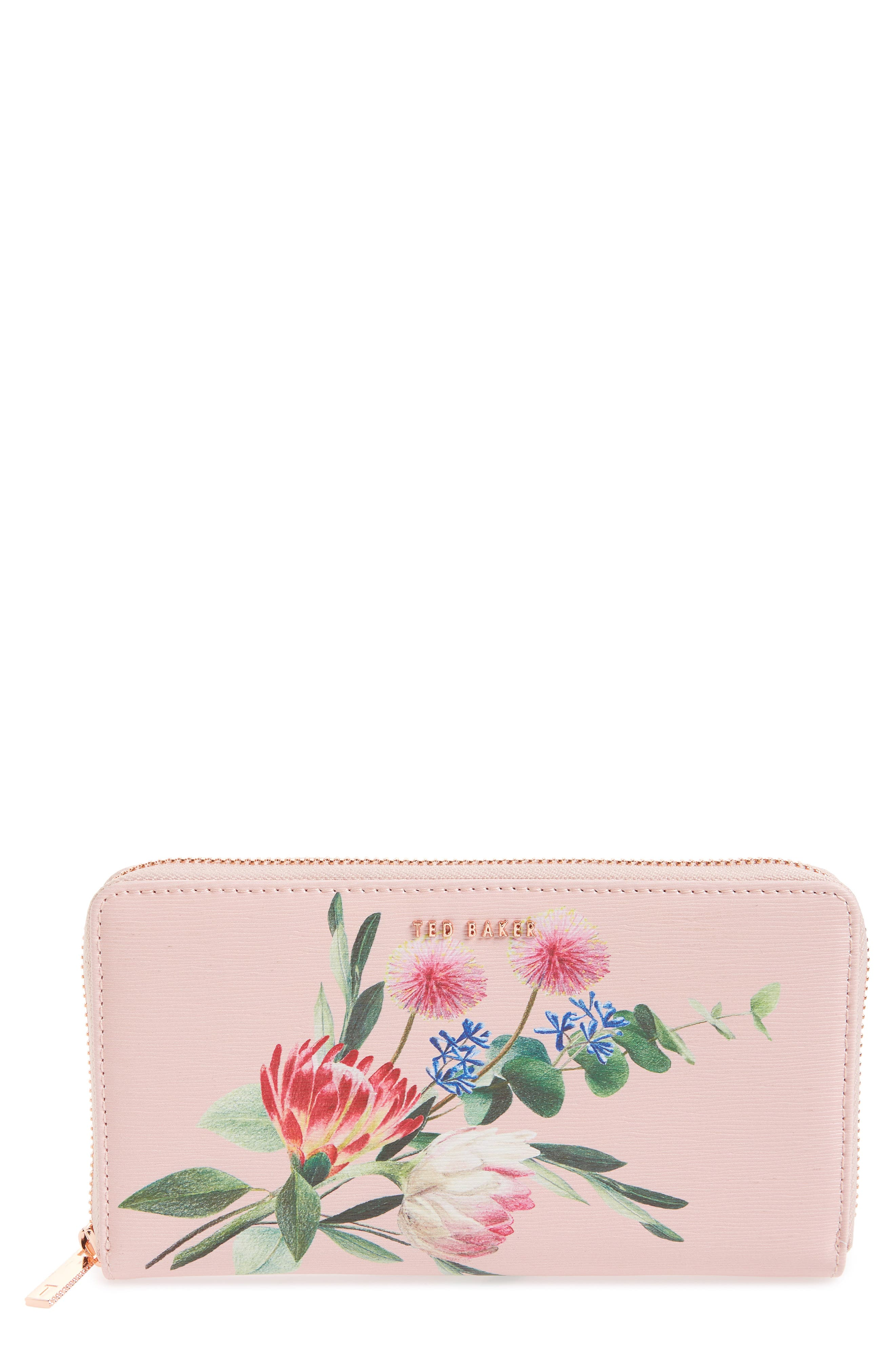 Minal Zip Around Matinee Wallet, Main, color, DUSKY PINK