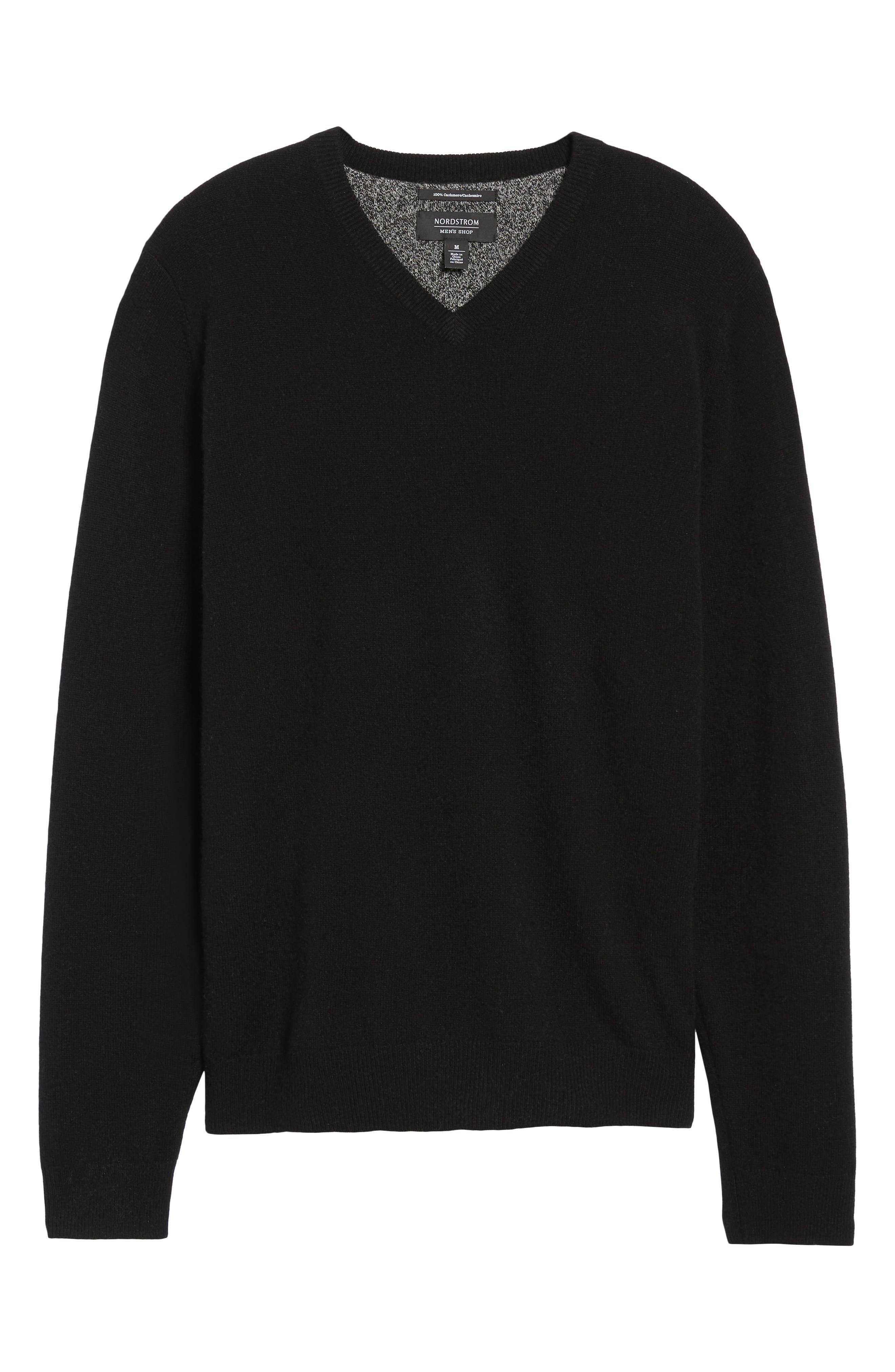 Cashmere V-Neck Sweater,                             Alternate thumbnail 6, color,                             BLACK CAVIAR