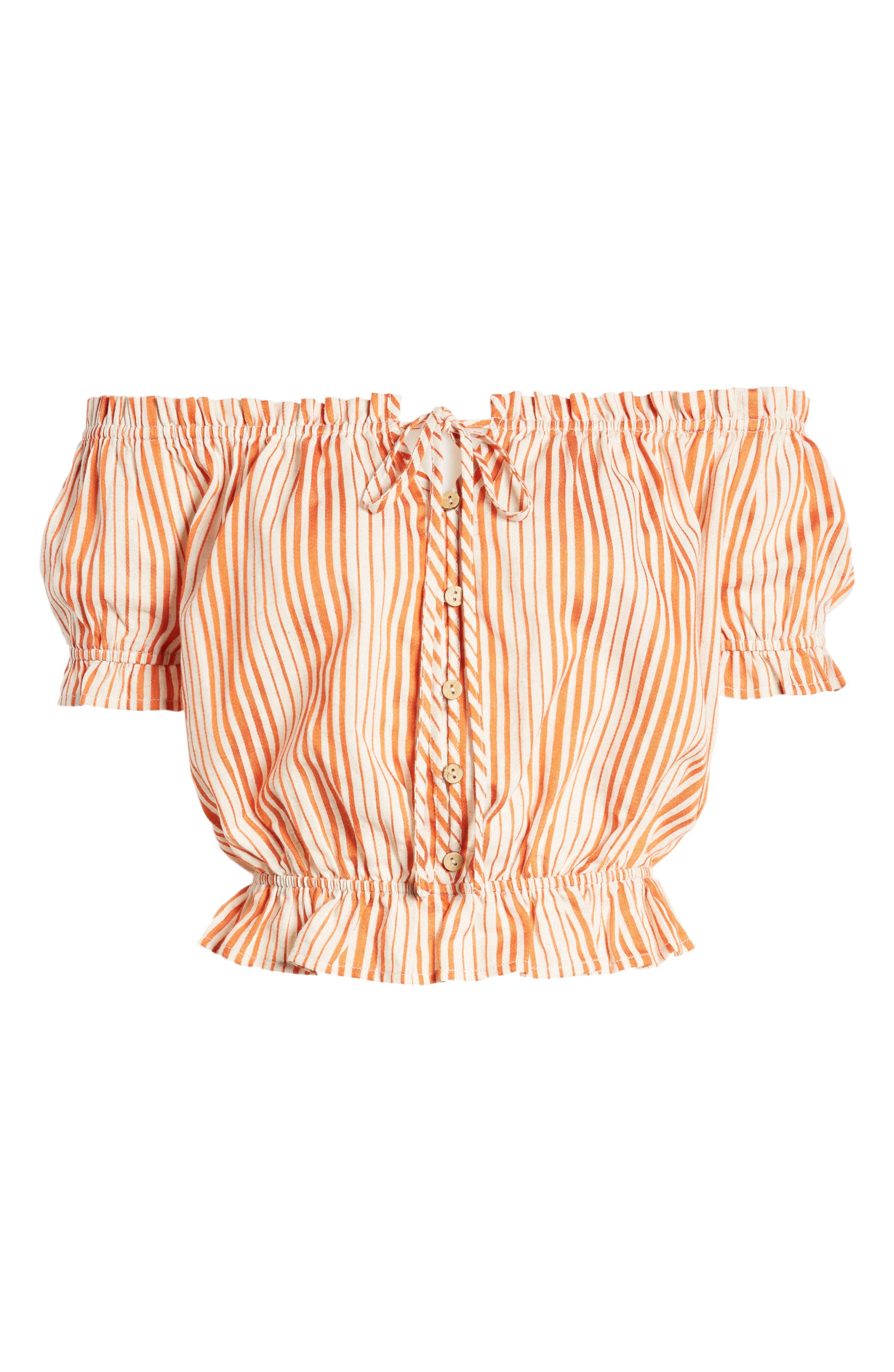 Stripe Off the Shoulder Linen & Cotton Top,                             Alternate thumbnail 6, color,                             800