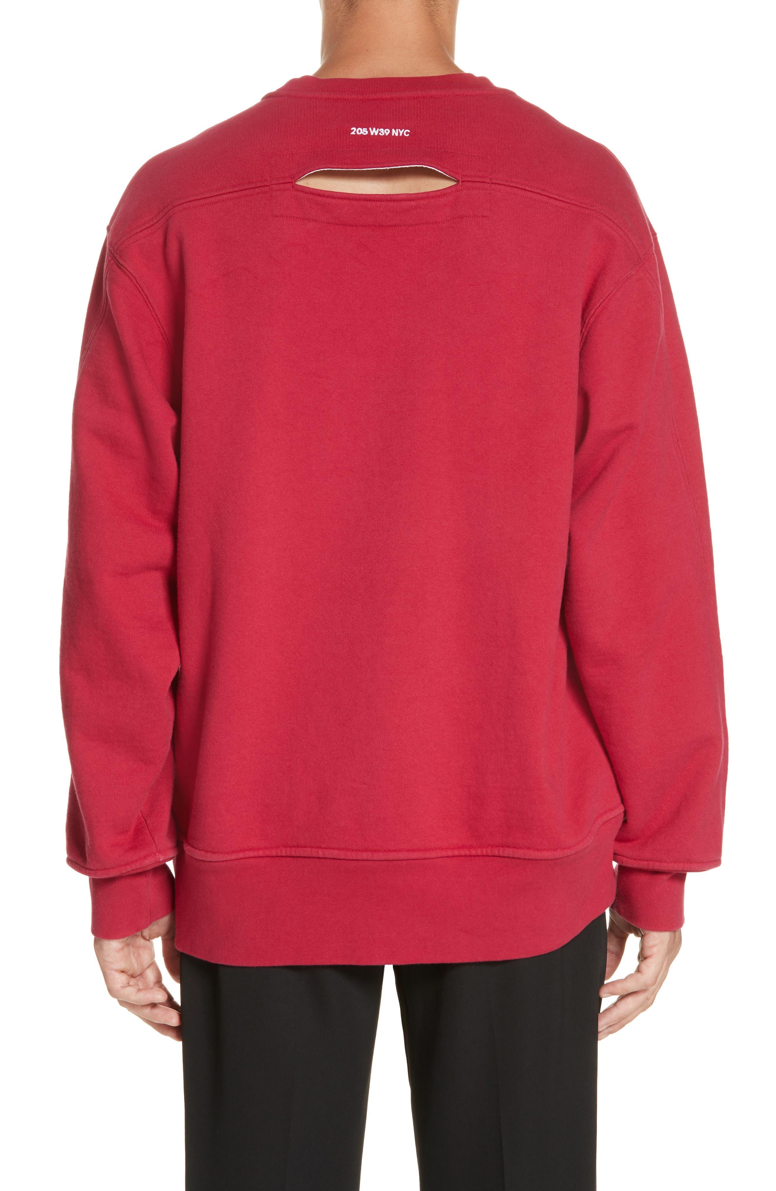 Crewneck Sweatshirt,                             Alternate thumbnail 2, color,                             CHERRY