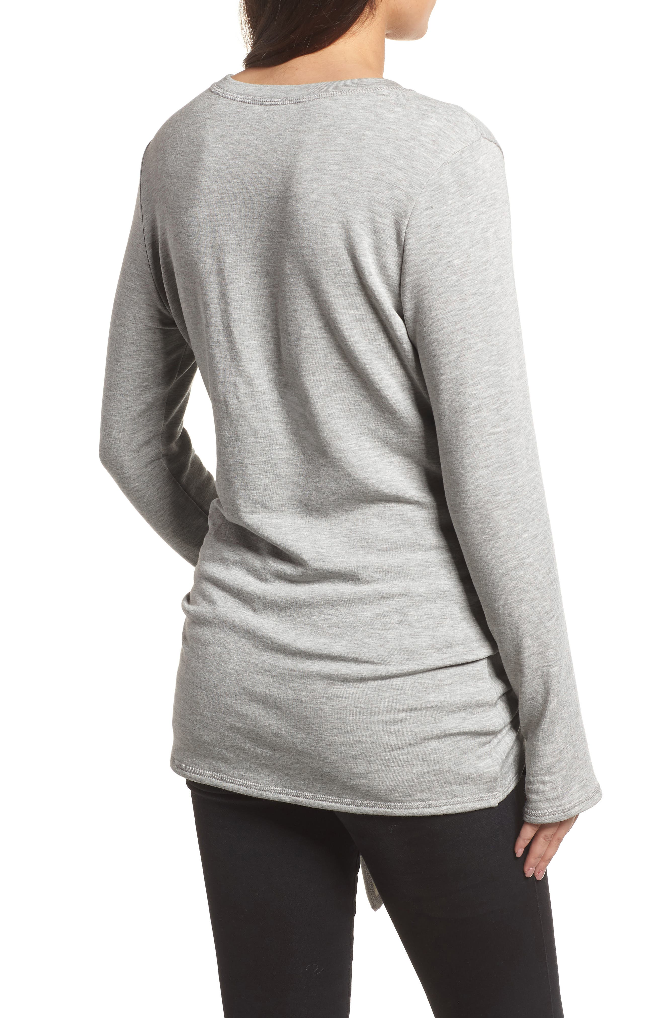 Off-Duty Tie Front Sweatshirt,                             Alternate thumbnail 6, color,