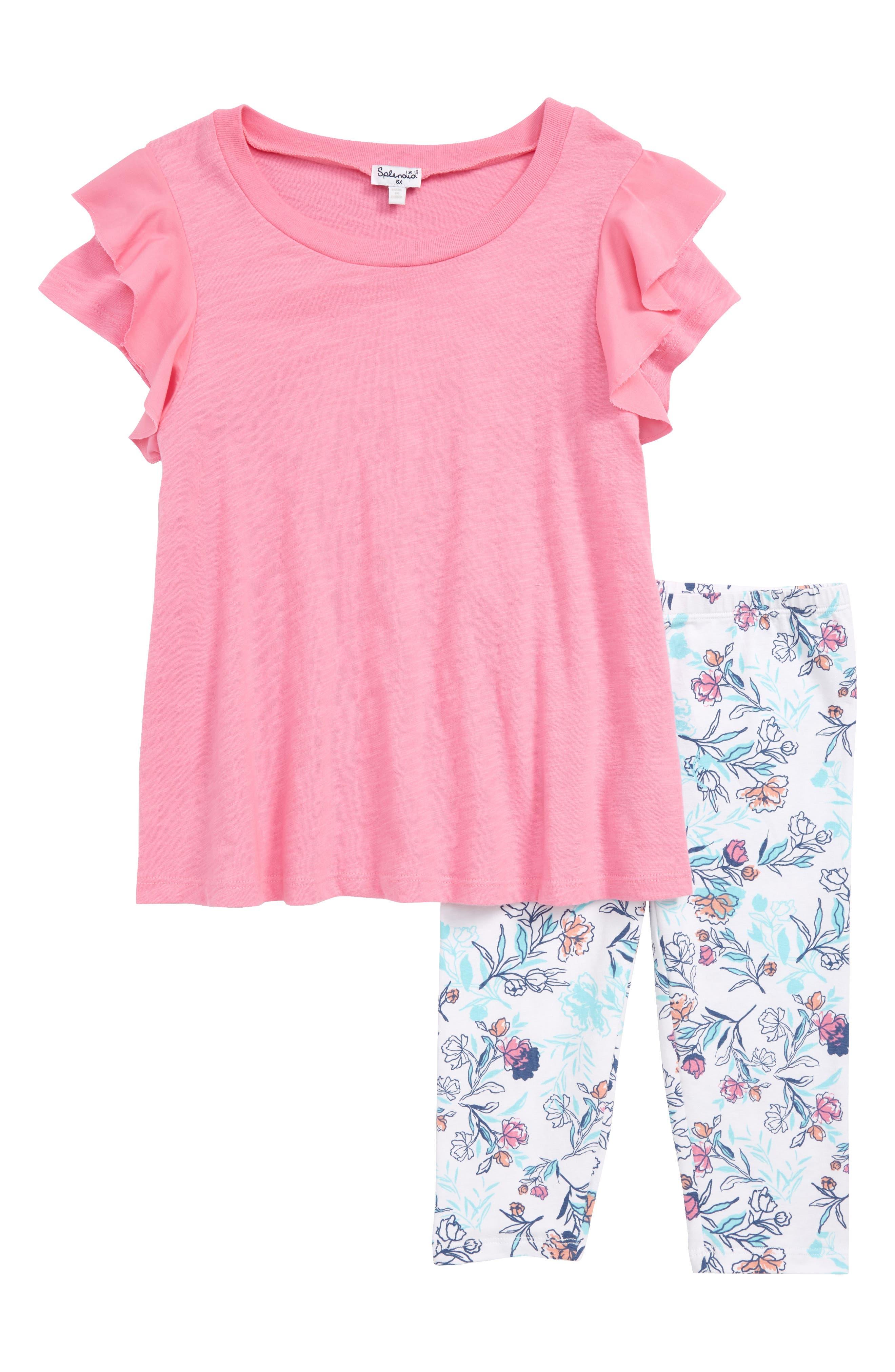 Top & Floral Leggings Set,                             Main thumbnail 1, color,                             650