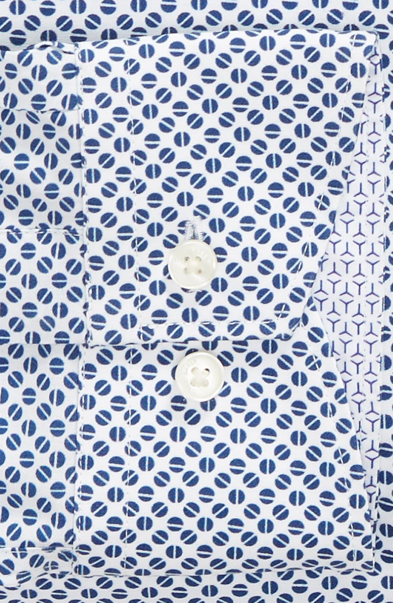 Maratha Trim Fit Print Dress Shirt,                             Alternate thumbnail 6, color,                             WHITE/ BLUE