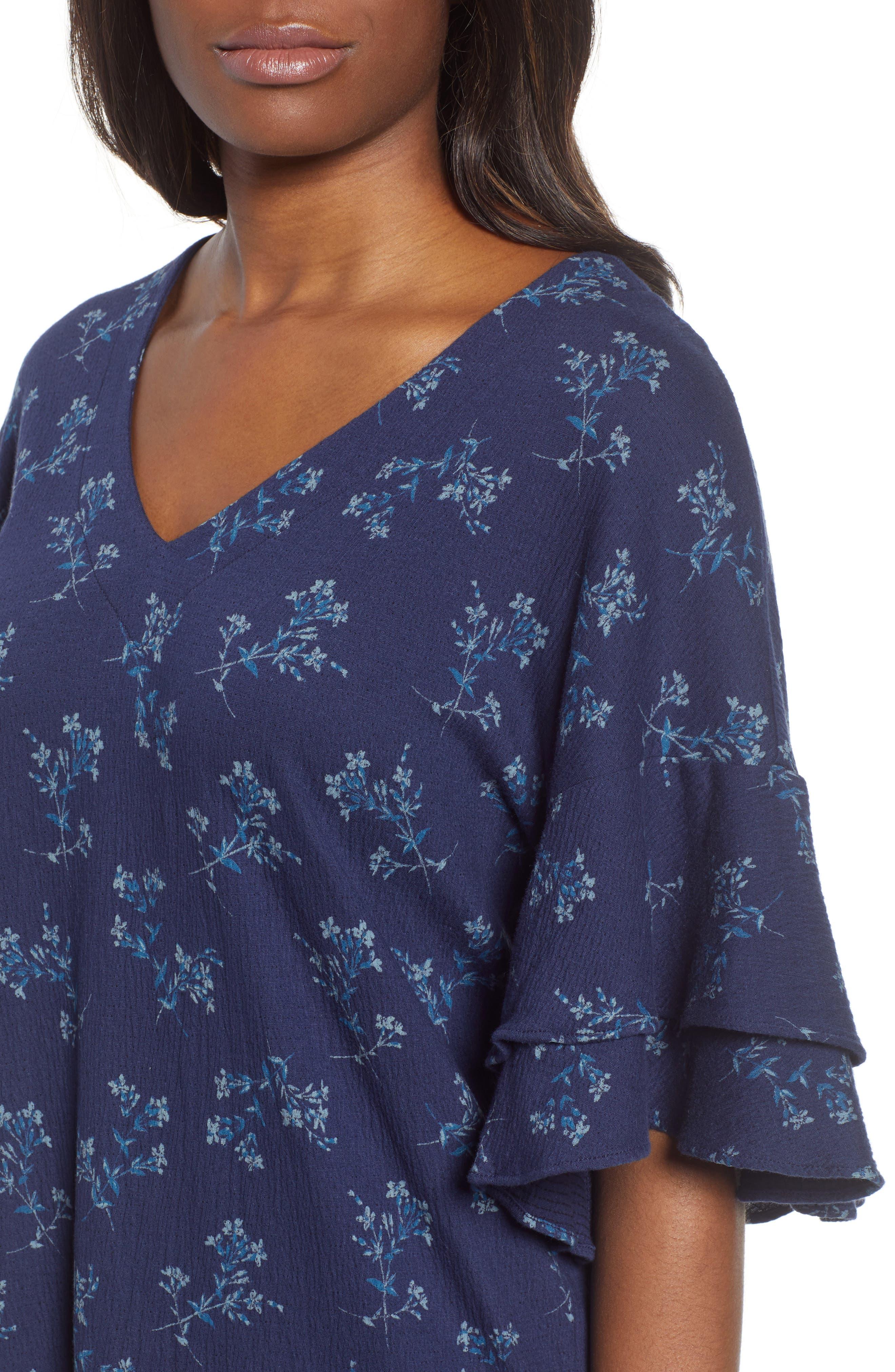Tiered Sleeve Mini Dress,                             Alternate thumbnail 4, color,                             400