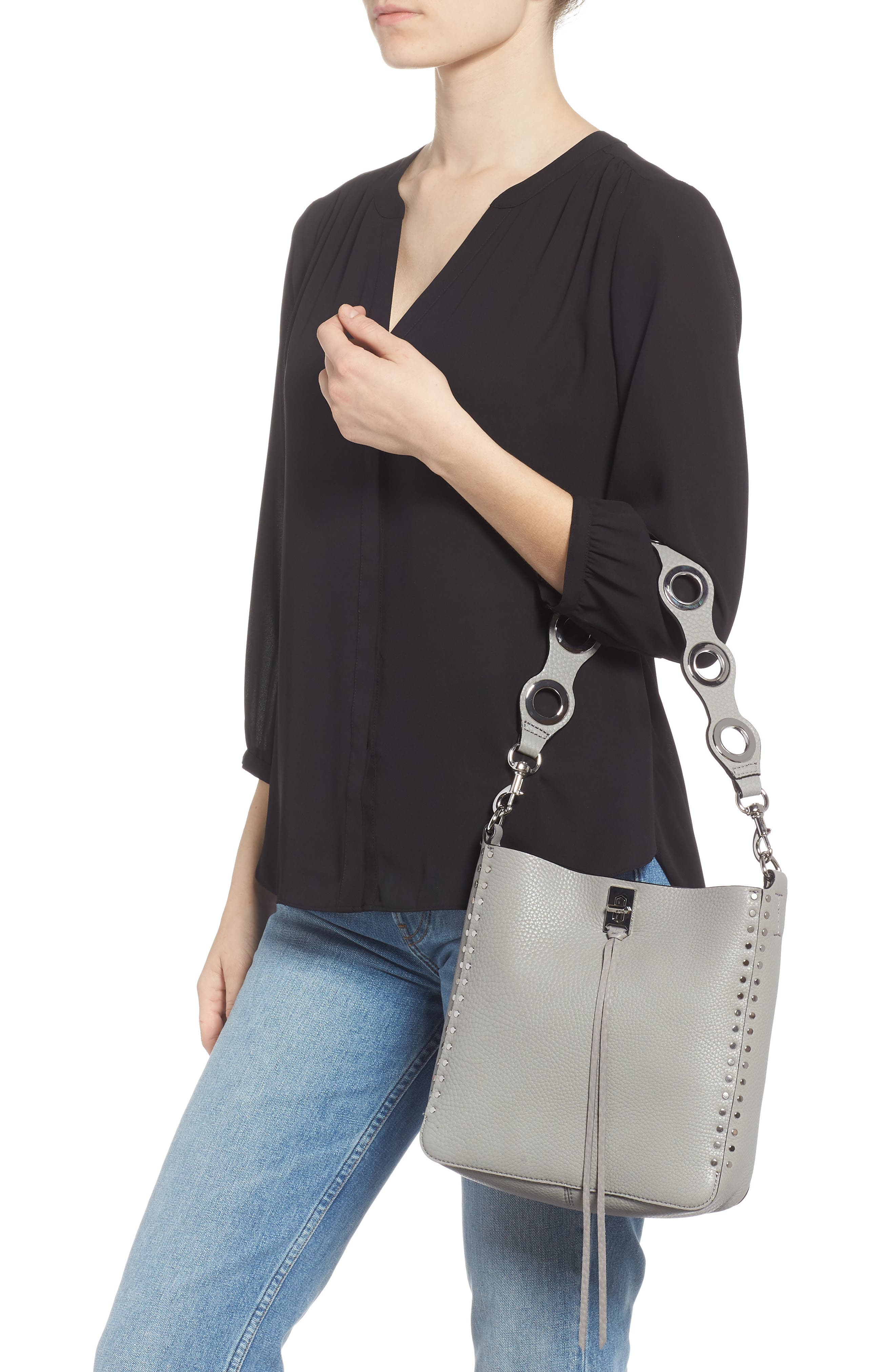 Small Studded Leather Feed Bag,                             Alternate thumbnail 2, color,                             GREY