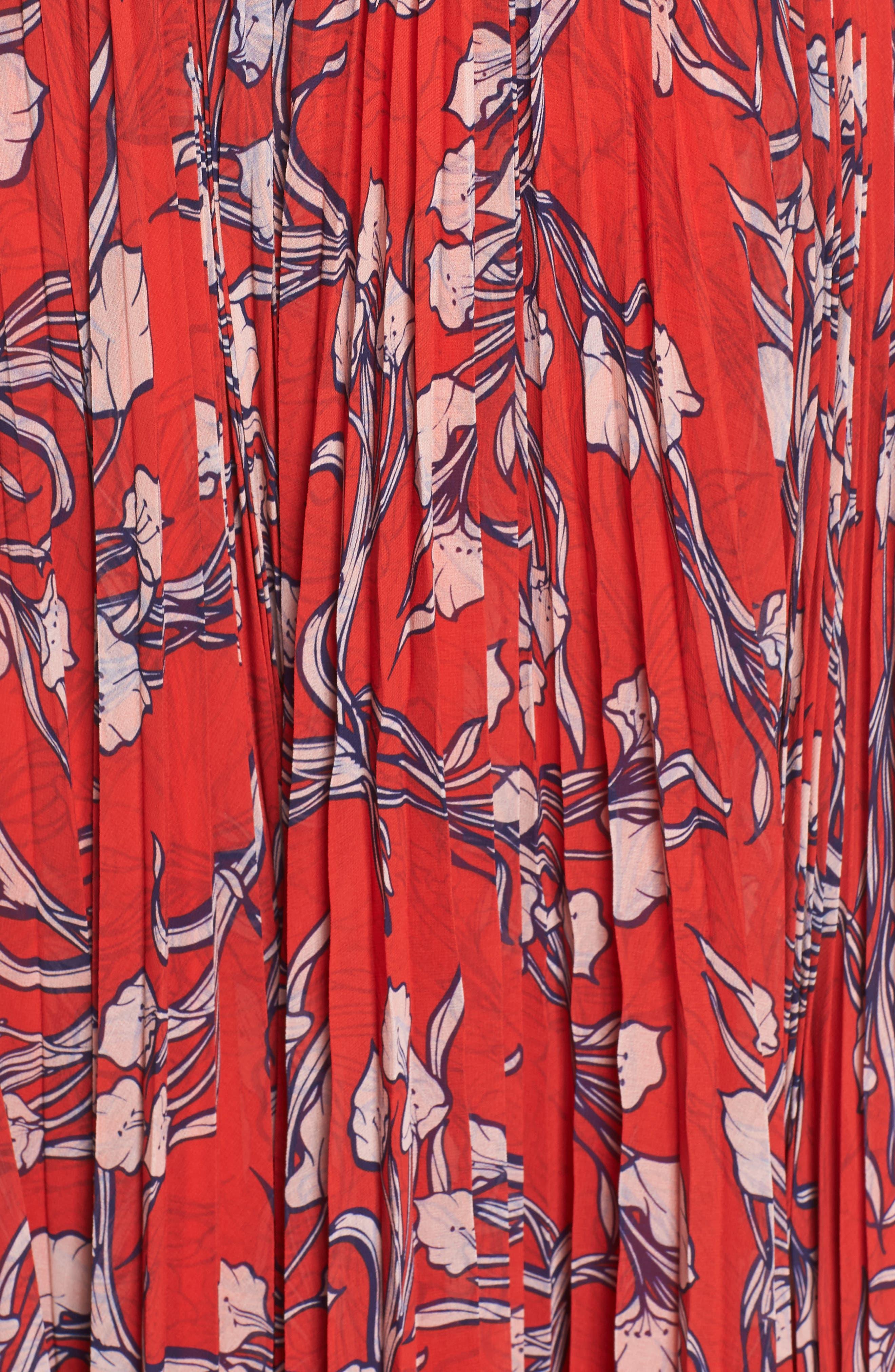 The Zora Chiffon Evening Dress,                             Alternate thumbnail 6, color,                             NOUVEAU FLORAL SUNSET