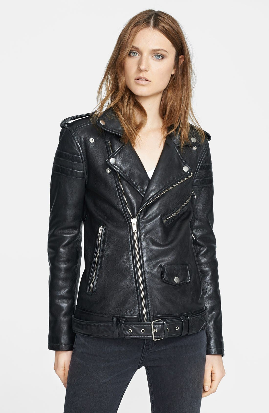 BLK DNM Lambskin Leather Biker Jacket, Main, color, 001