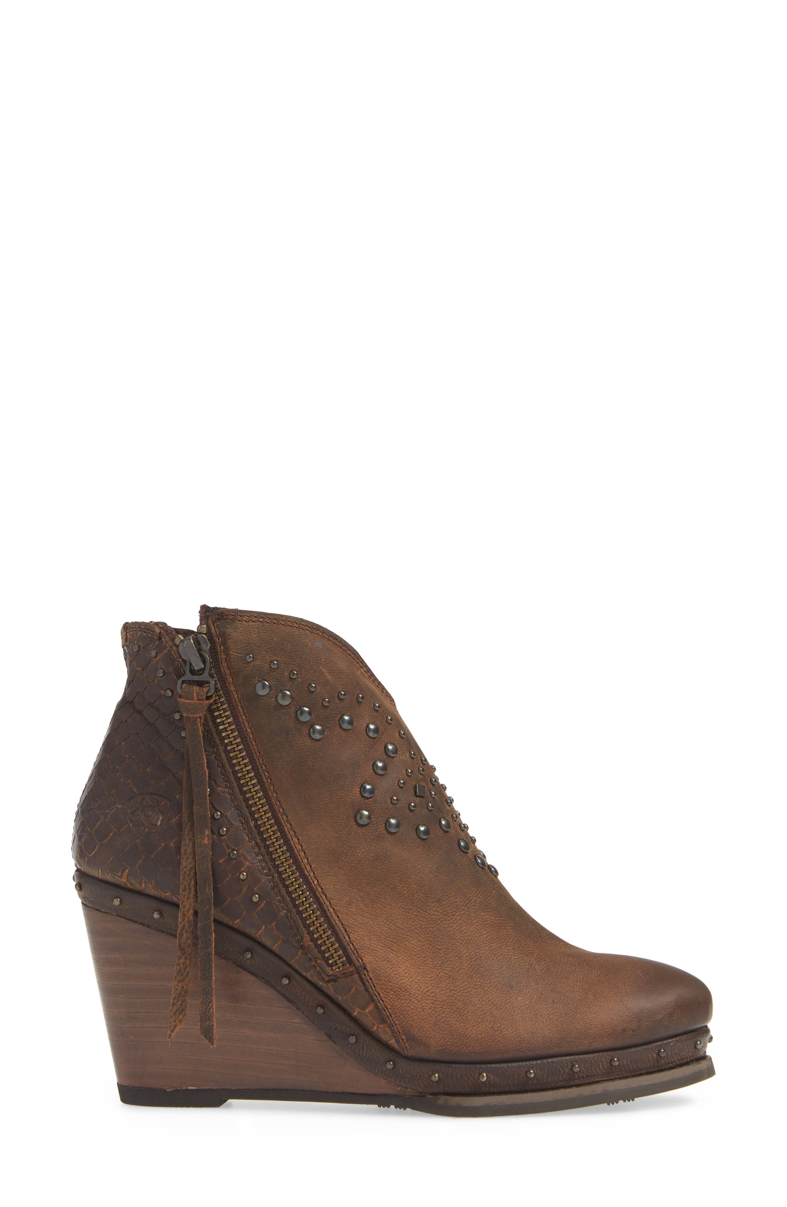 Stax Studded Wedge Bootie,                             Alternate thumbnail 3, color,                             RUSSET DIAMONDBACK TAN LEATHER