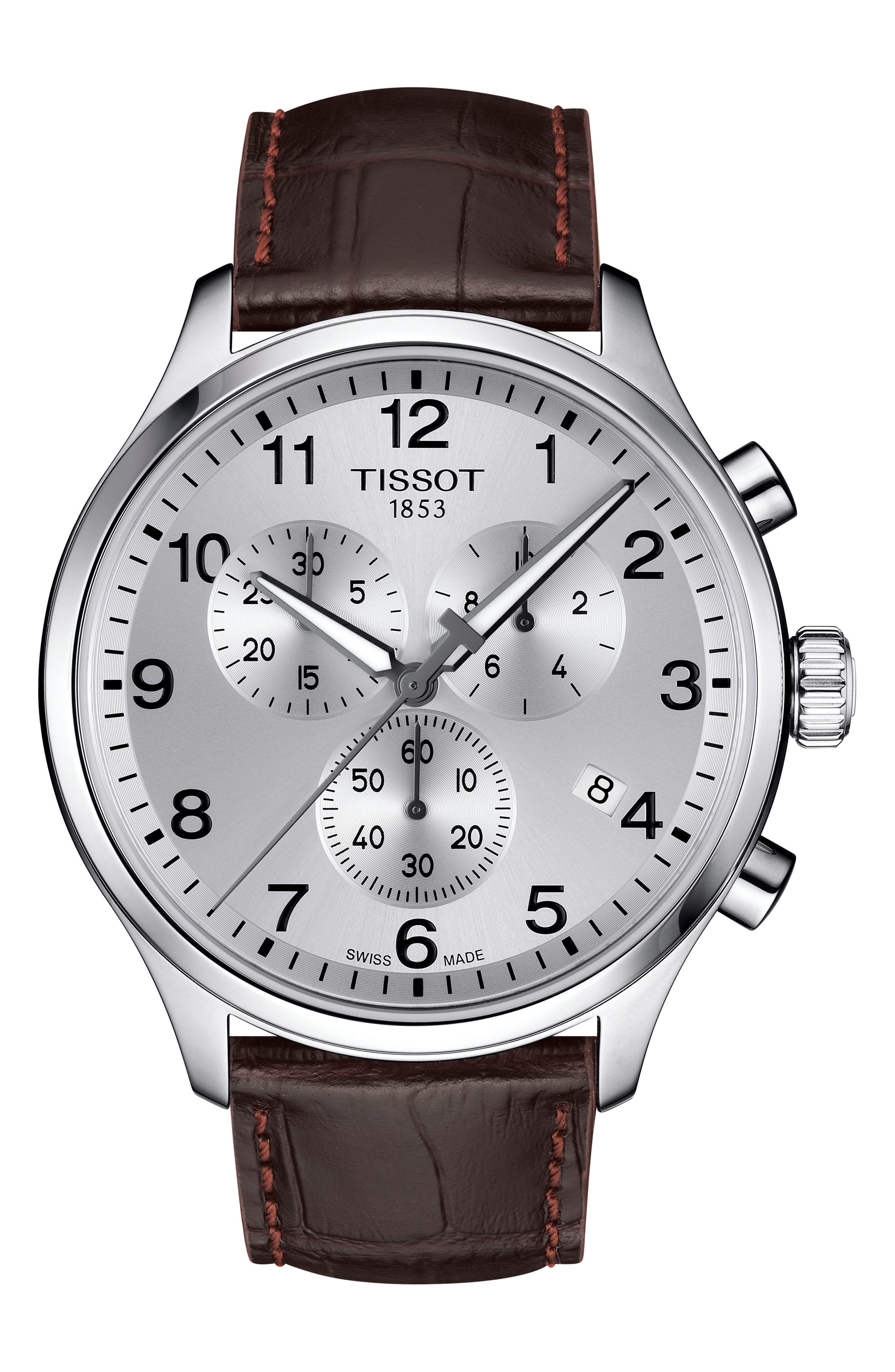 Chrono XL Collection Chronograph Leather Strap Watch, 45mm,                         Main,                         color, BROWN/ SILVER