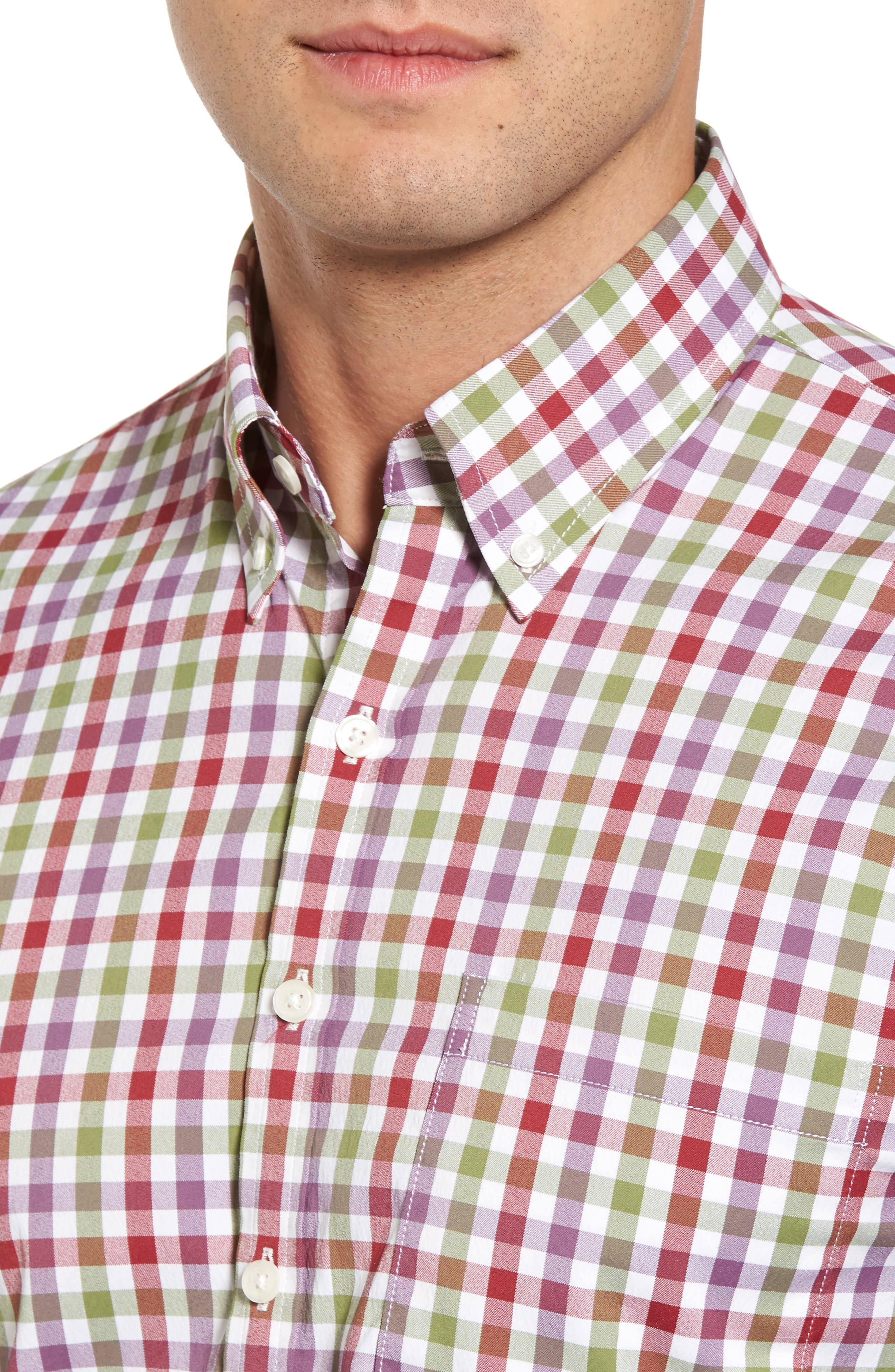 Autumn Check Easy Care Sport Shirt,                             Alternate thumbnail 4, color,