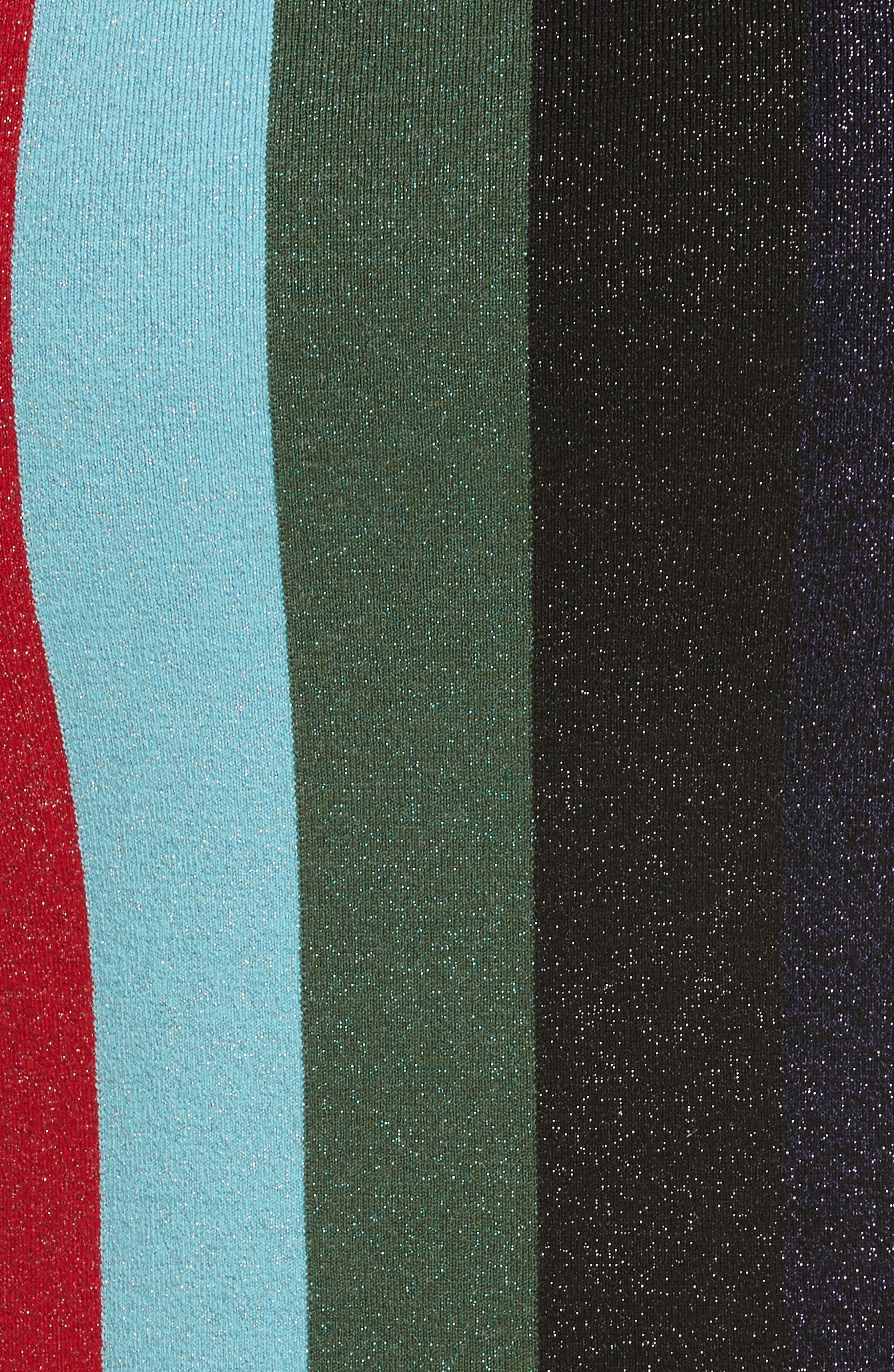 Metallic Stripe Knit Pencil Skirt,                             Alternate thumbnail 5, color,                             008