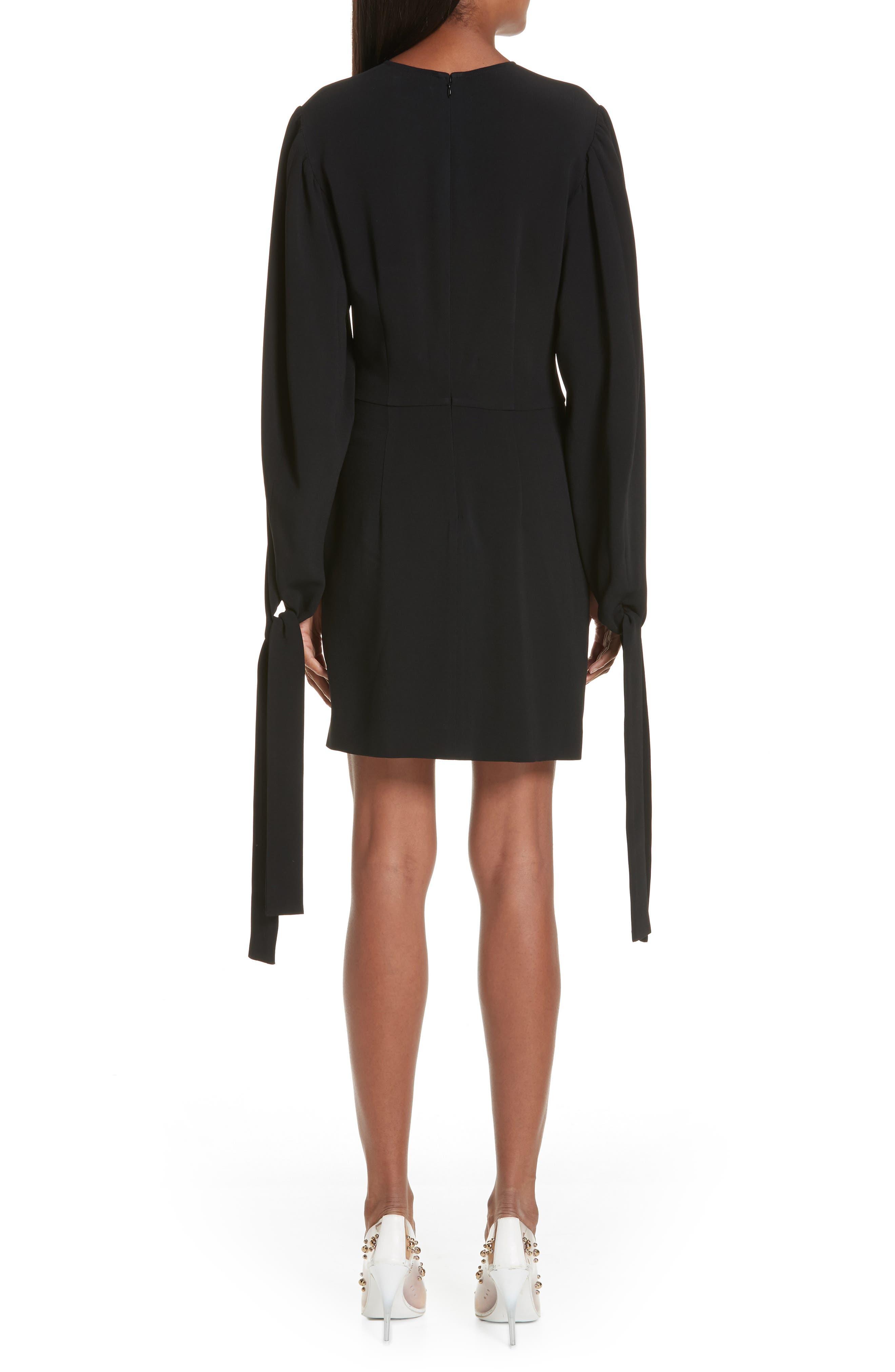 Tie Cuff Stretch Cady Dress,                             Alternate thumbnail 2, color,                             BLACK