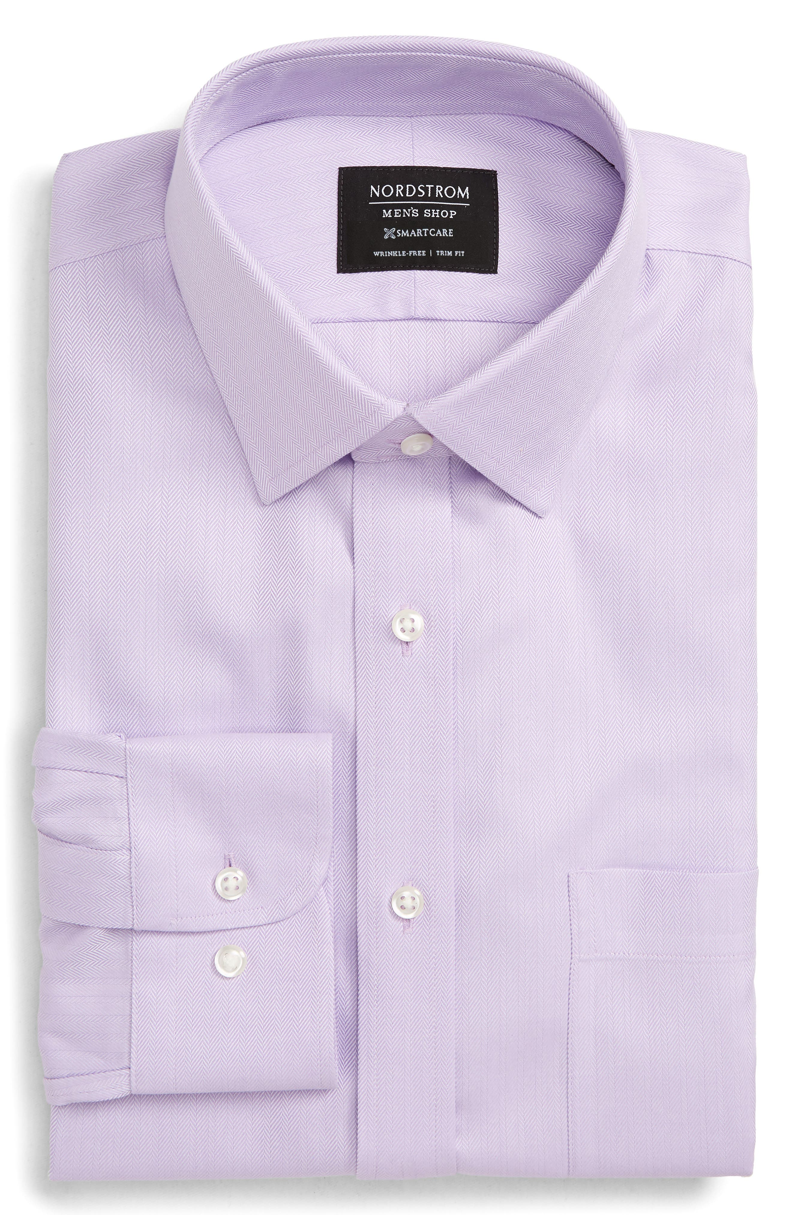 Nordstrom Shop Smartcare(TM) Trim Fit Herringbone Dress Shirt - Purple