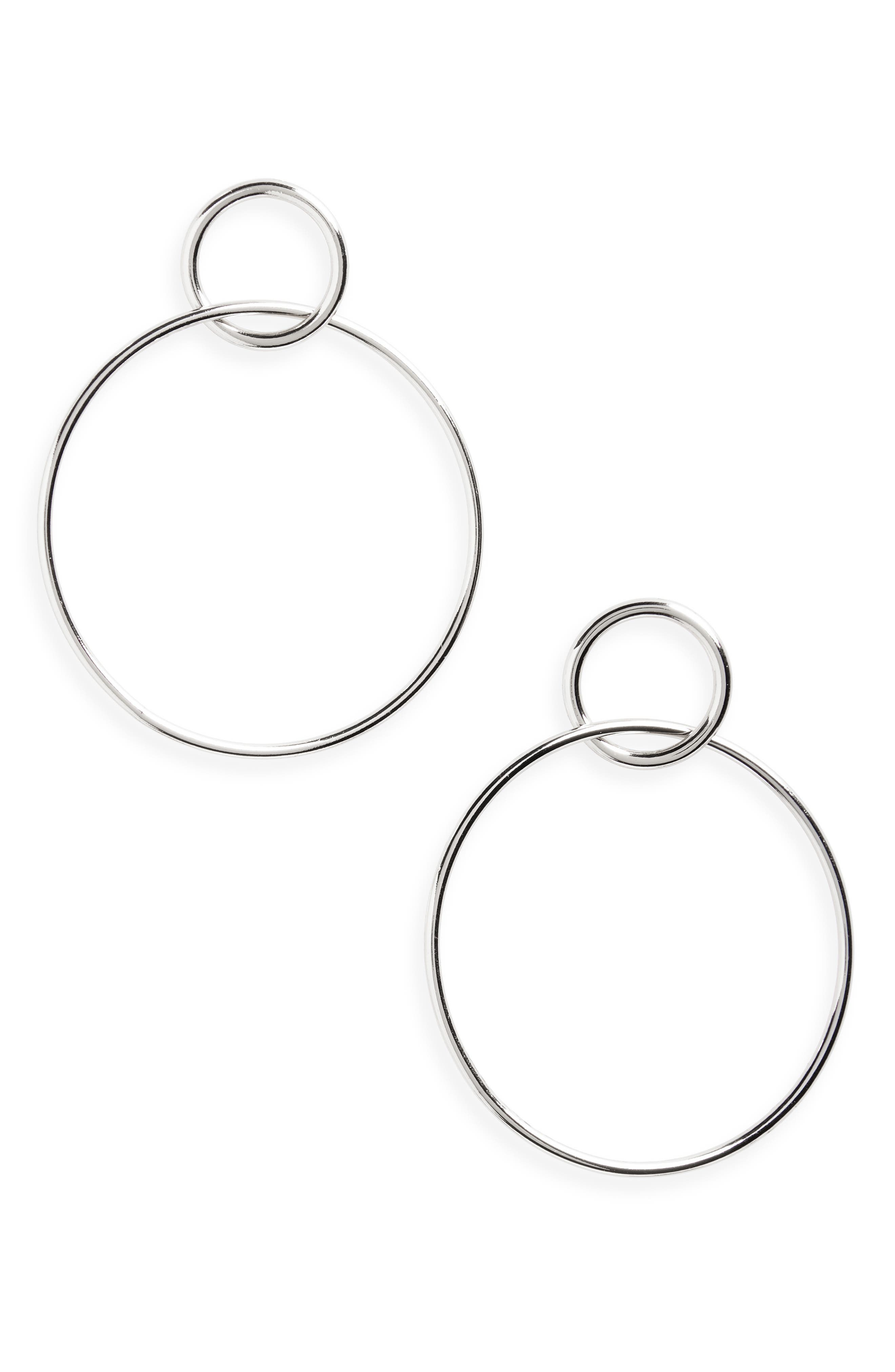 Halogen Double Circle Drop Earrings,                             Main thumbnail 1, color,                             RHODIUM