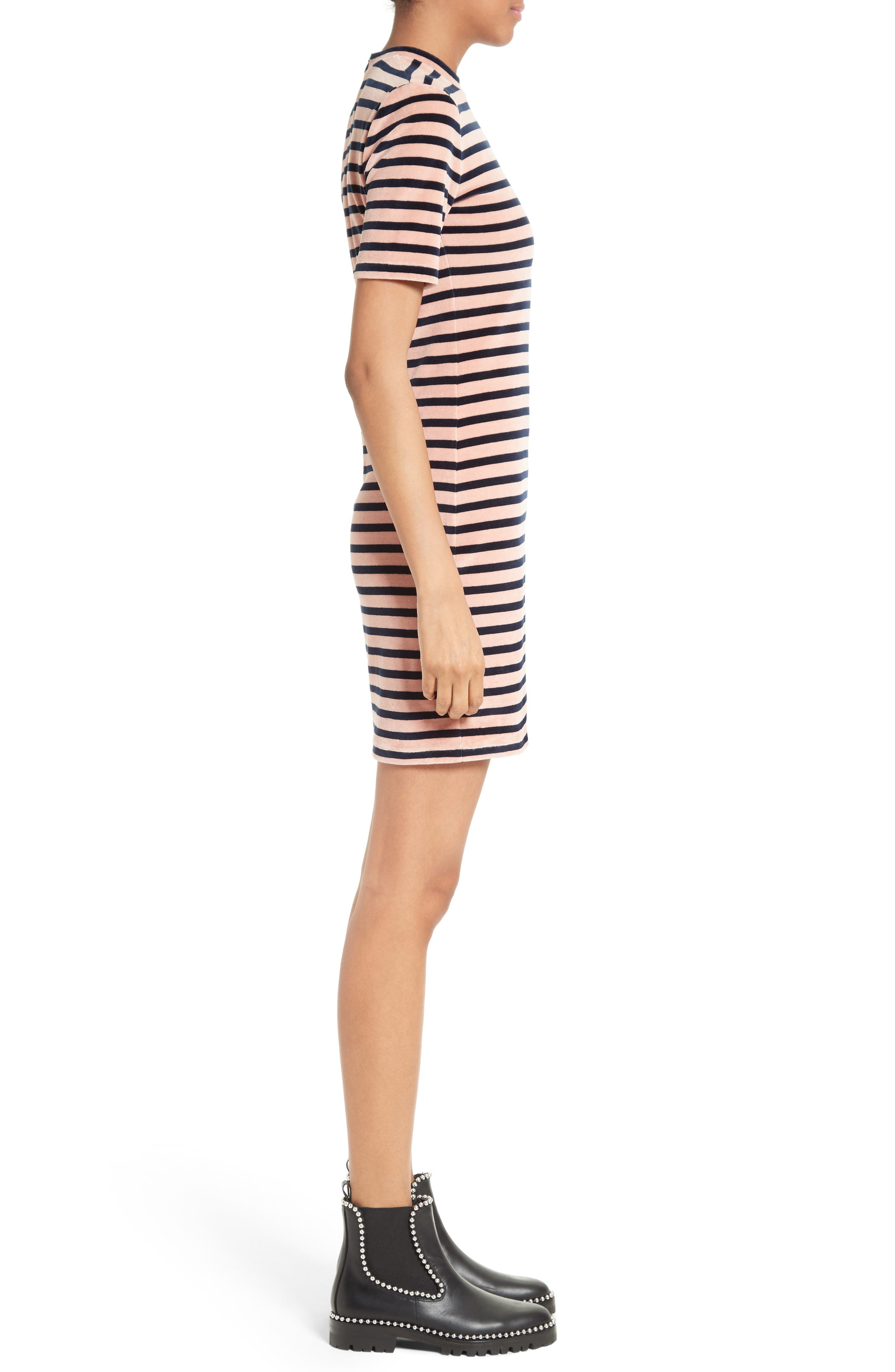 T by Alexander Wang Stripe Velvet Dress,                             Alternate thumbnail 3, color,                             401
