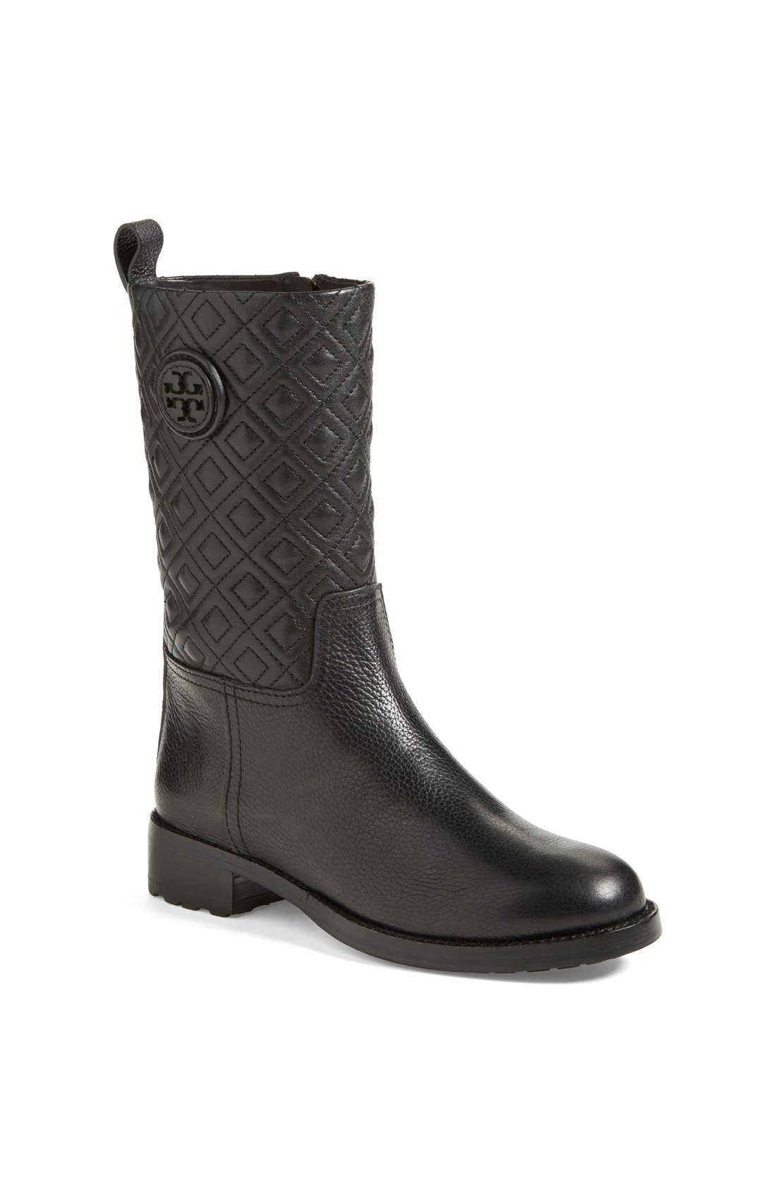 'Marion' Quilted Shaft Leather Boot,                             Main thumbnail 1, color,                             001