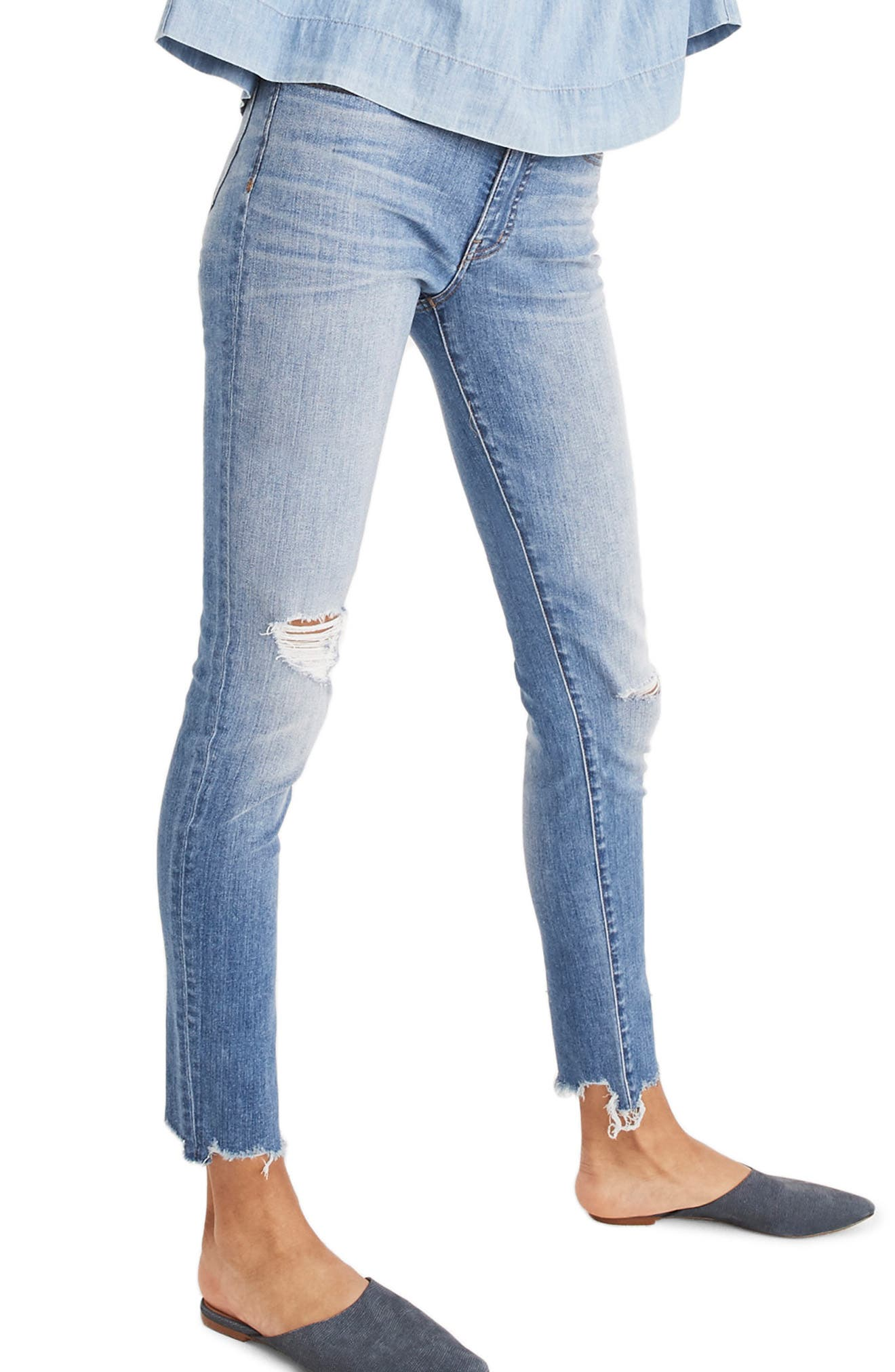 9-Inch Torn Knee Skinny Jeans,                             Main thumbnail 1, color,                             400