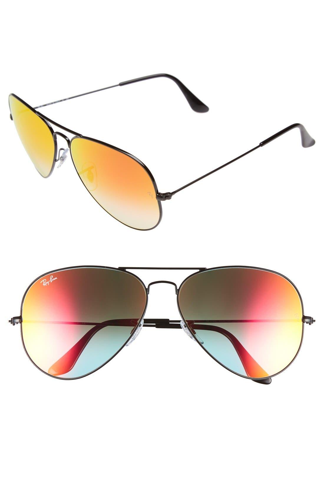 Large Icons 62mm Aviator Sunglasses,                             Main thumbnail 1, color,                             011